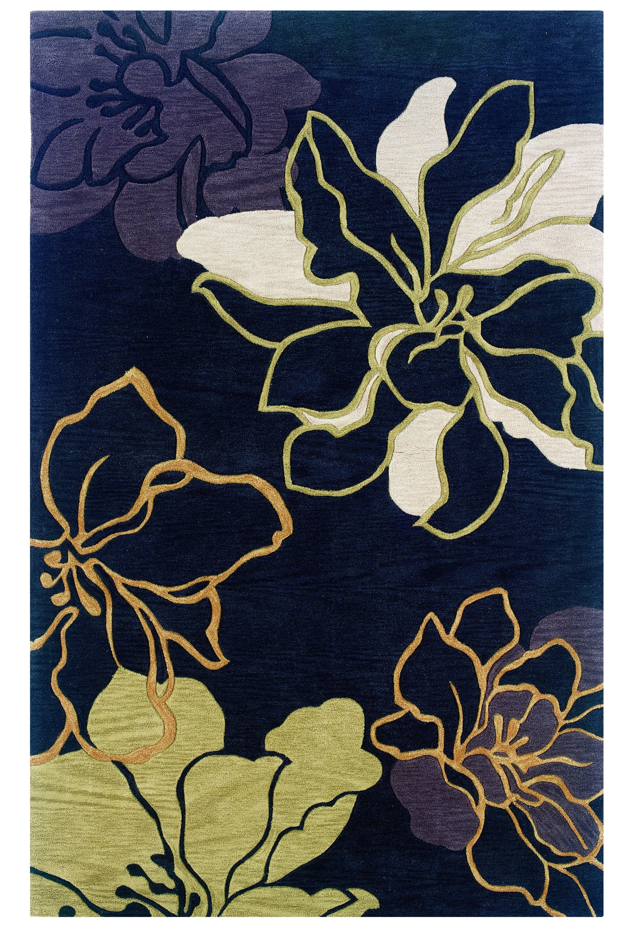 Broken Hand-Tufted Black Area Rug Rug Size: 5' x 7'
