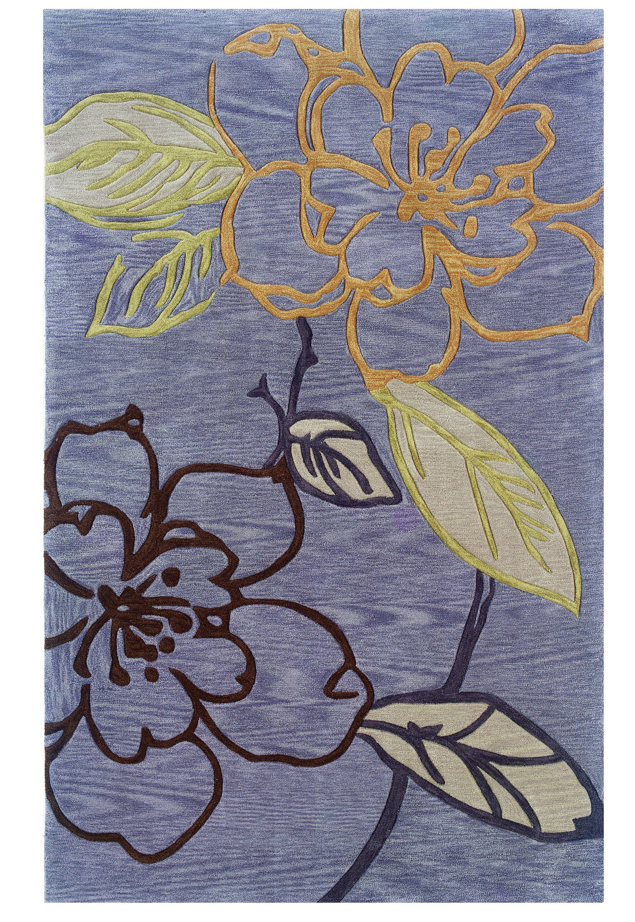 Fugen Modern Hand-Tufted Purple Area Rug Rug Size: 5' x 7'