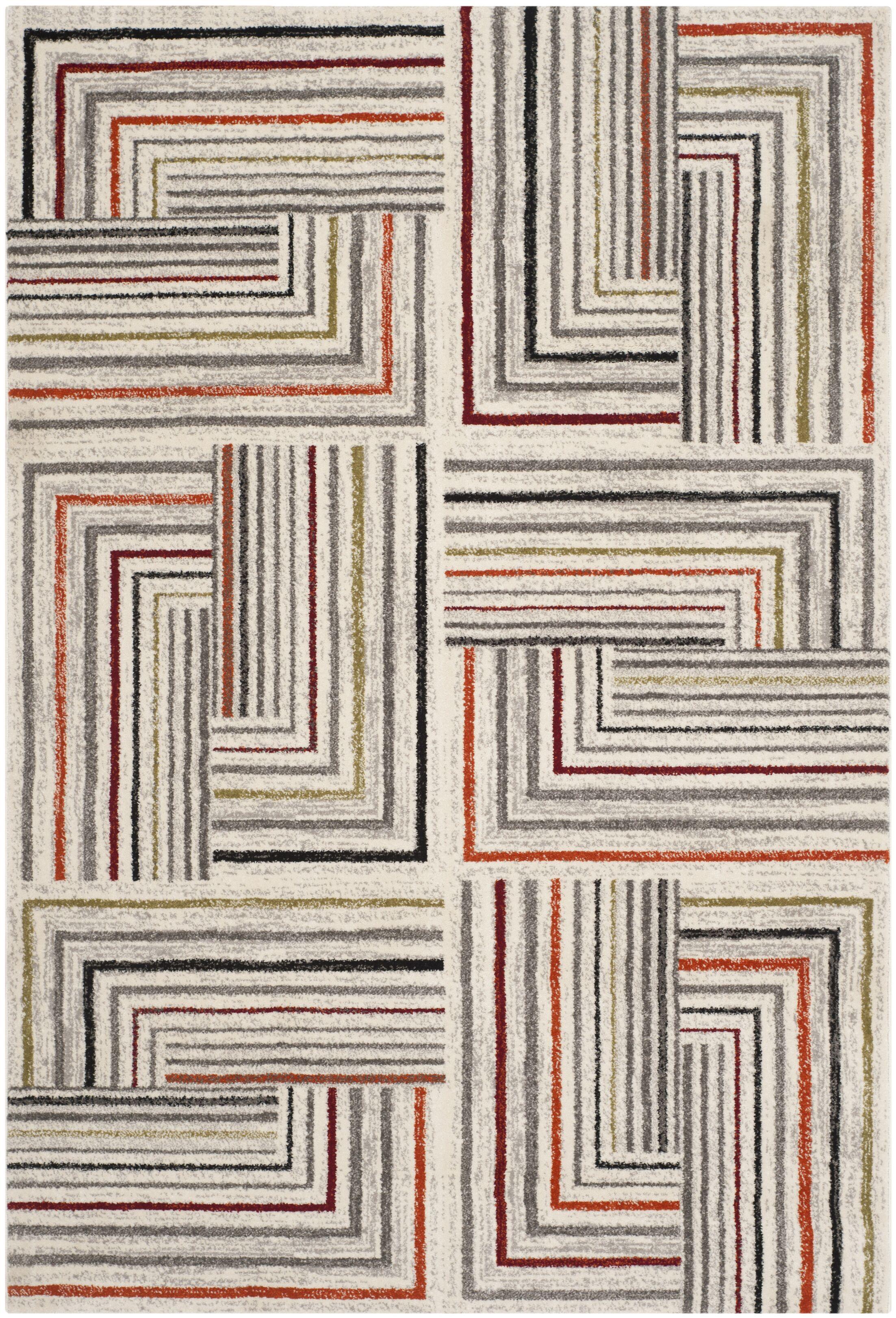 Sirmans Ivory/Grey Area Rug Rug Size: Rectangle 6'7