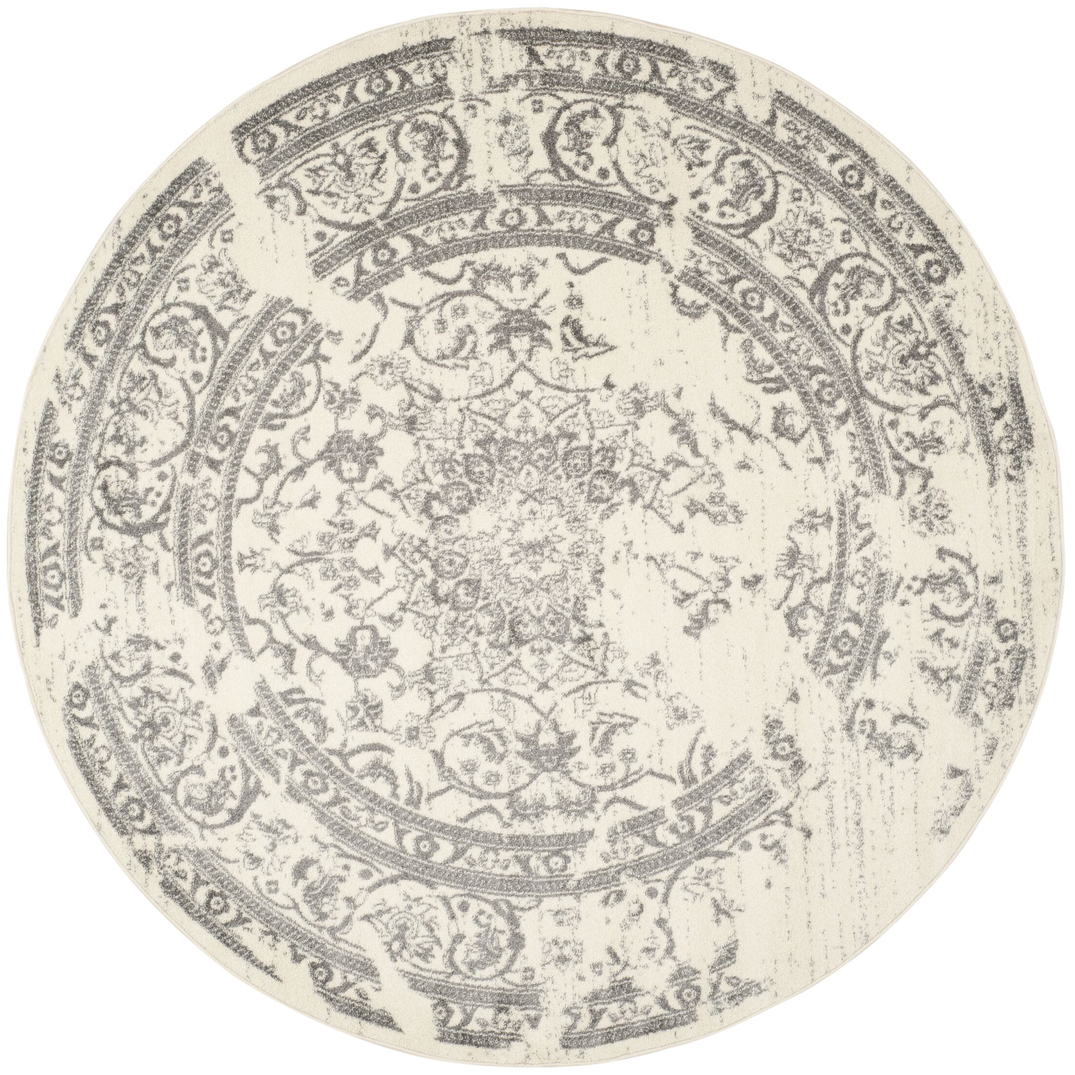Costa Mesa Ivory/Silver Area Rug Rug Size: Round 6'