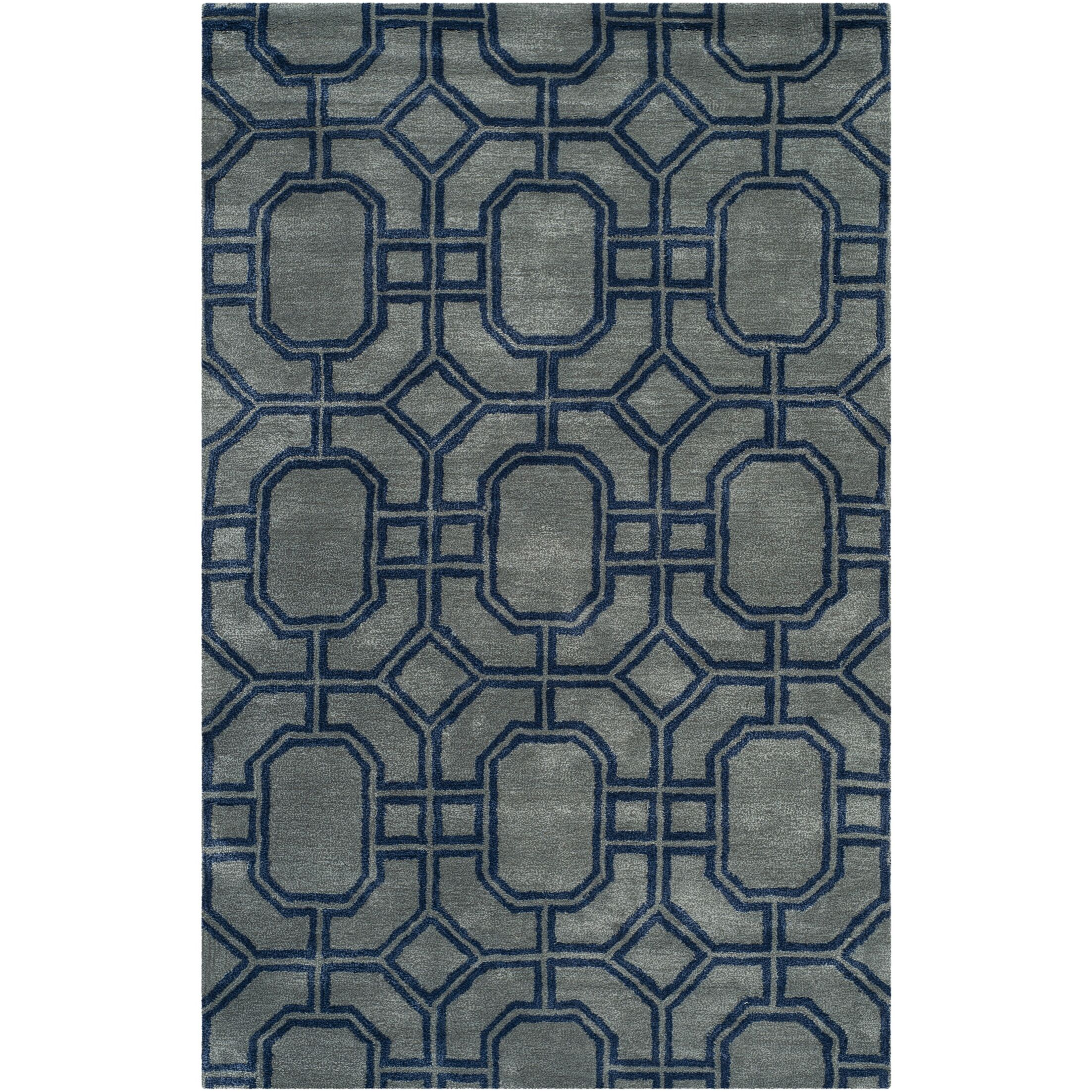 Schaub Hand-Tufted Gray/Dark Blue Area Rug Rug Size: Rectangle 7'6