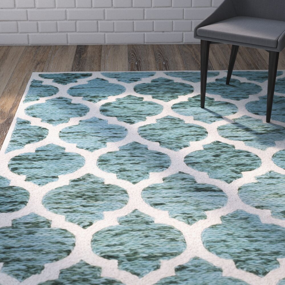 Short Hand-Loomed Turquoise/Ivory Area Rug Rug Size: Runner 2'3