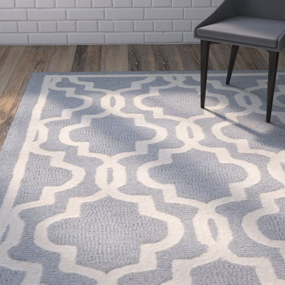 Martins Hand-Tufted Wool Silver/Ivory Area Rug Rug Size: Rectangle 11' x 15'