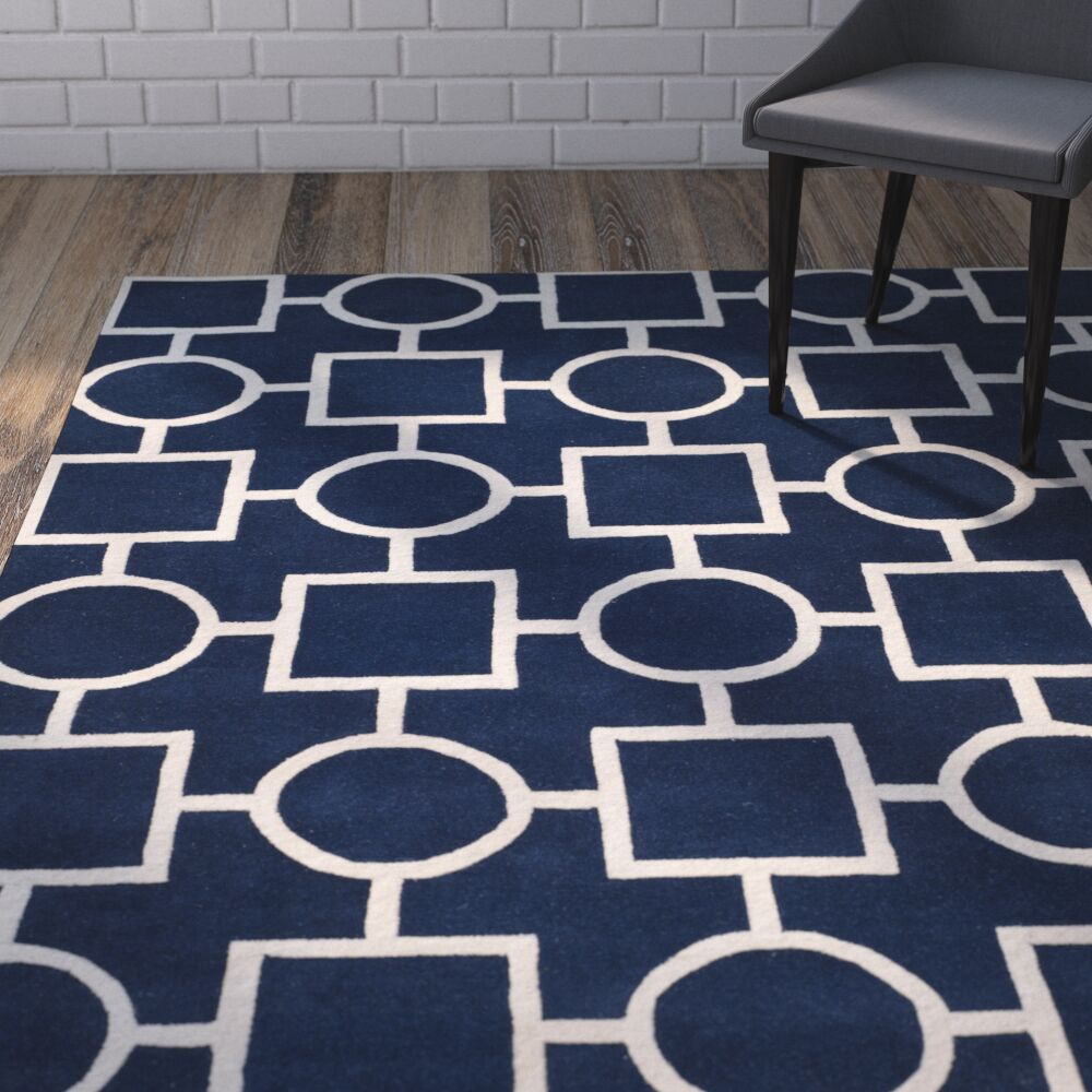 Wilkin Hand-Tufted Wool Blue/Ivory Rug Rug Size: Rectangle 5' x 8'