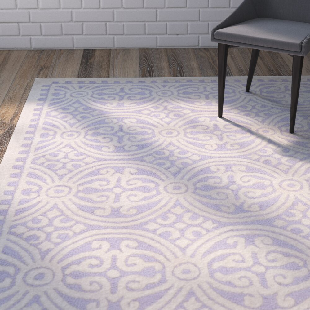 Martins Hand-Tufted Wool Lavender/Ivory Area Rug Rug Size: Rectangle 10' x 14'