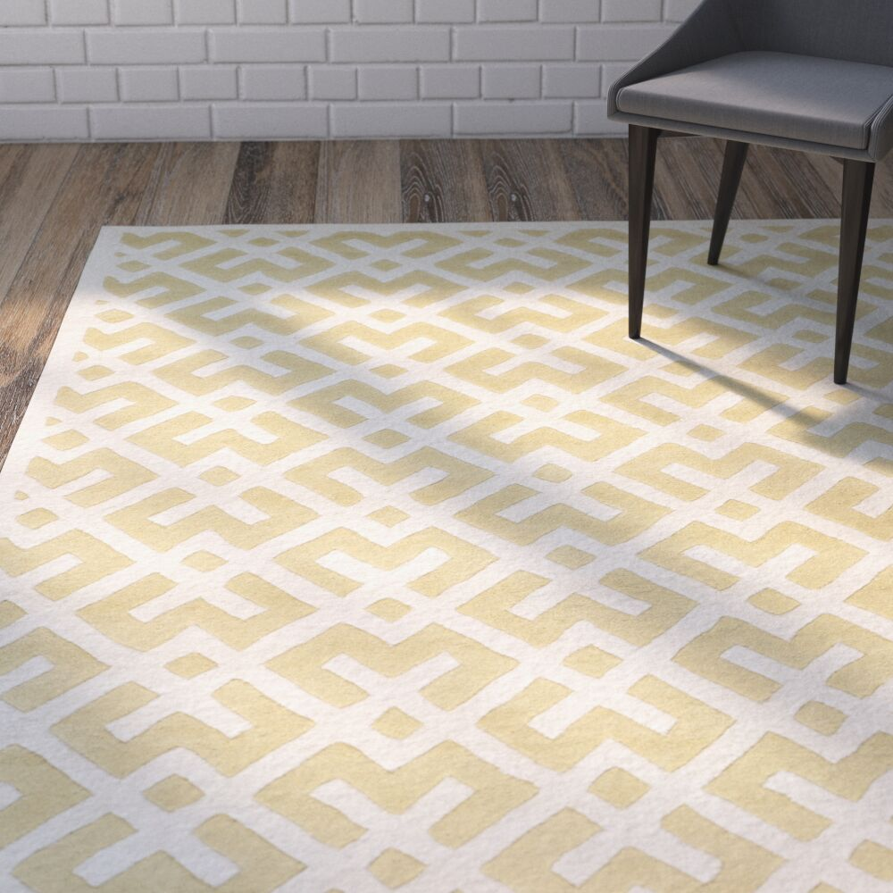 Wilkin Hand-Tufted Wool Light Gold Area Rug Rug Size: Rectangle 3' x 5'