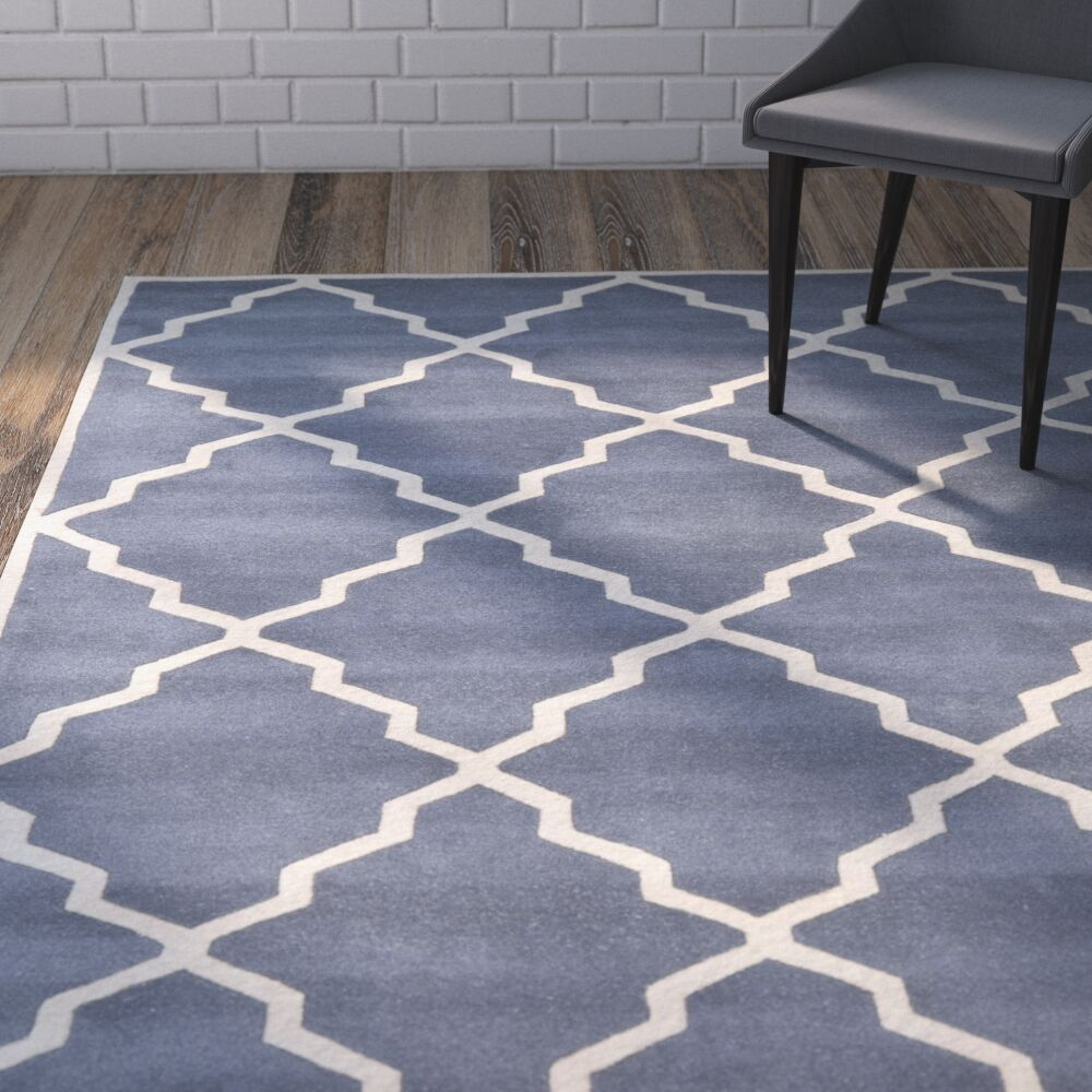 Wilkin Tufted Wool Gray/Ivory Area Rug Rug Size: Round 7'