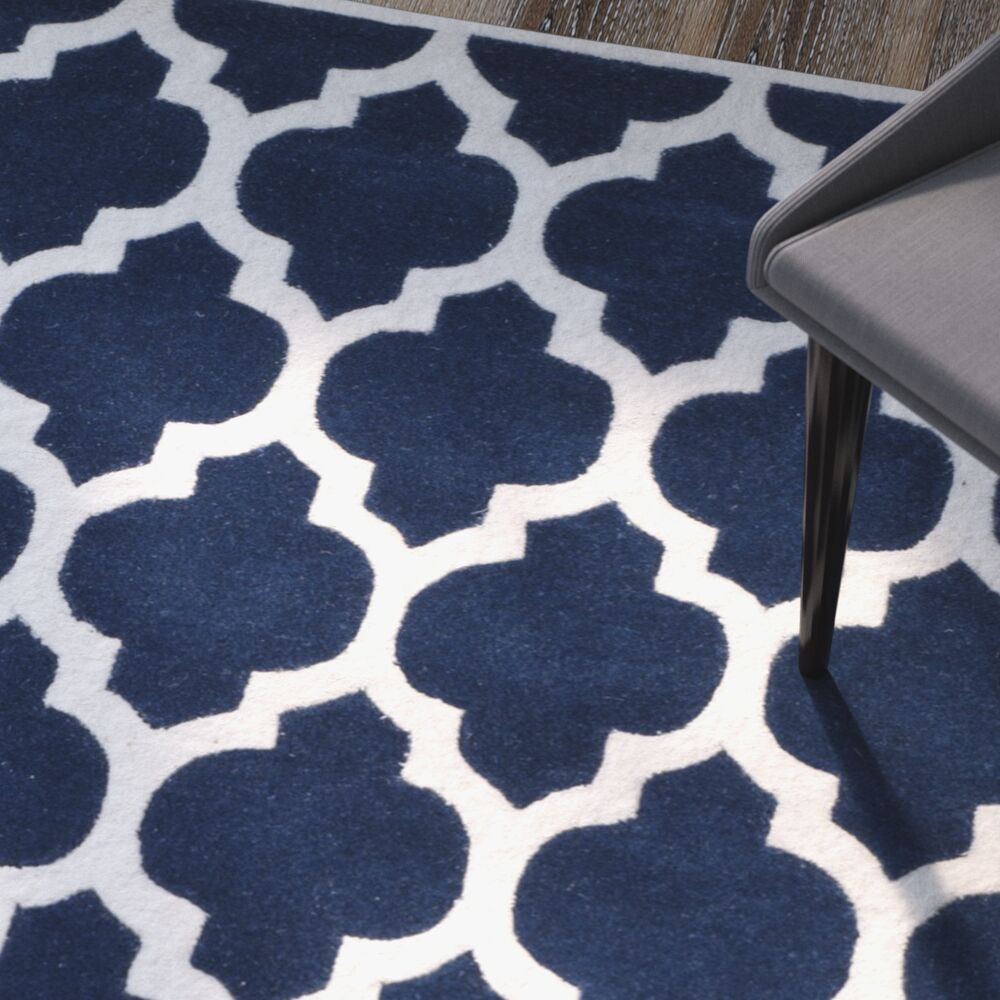 Wilkin Hand-Tufted Dark Blue/Ivory Area Rug Rug Size: Rectangle 6' x 9'