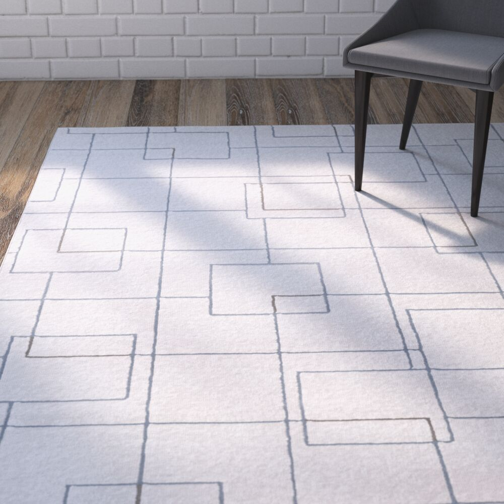 Mcdowell White/Gray Area Rug Rug Size: Rectangle 3'11