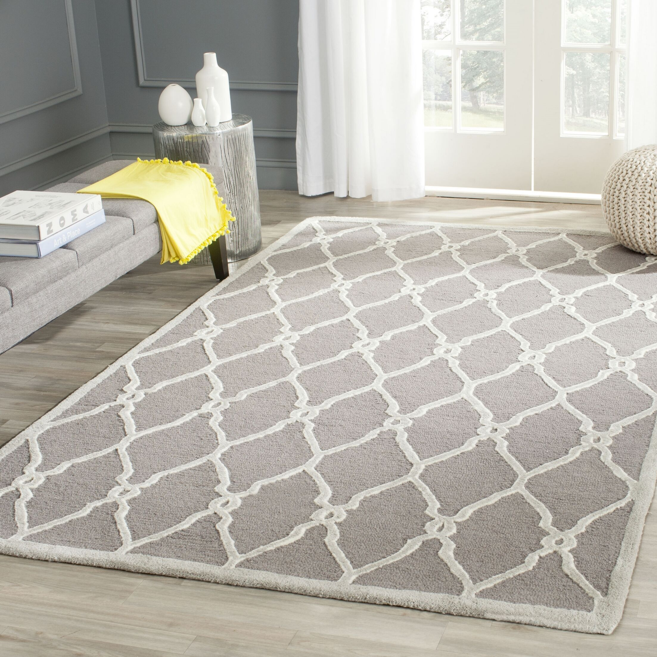 Martins Hand-Tufted Dark Gray/Ivory Area Rug Rug Size: Rectangle 9' x 12'