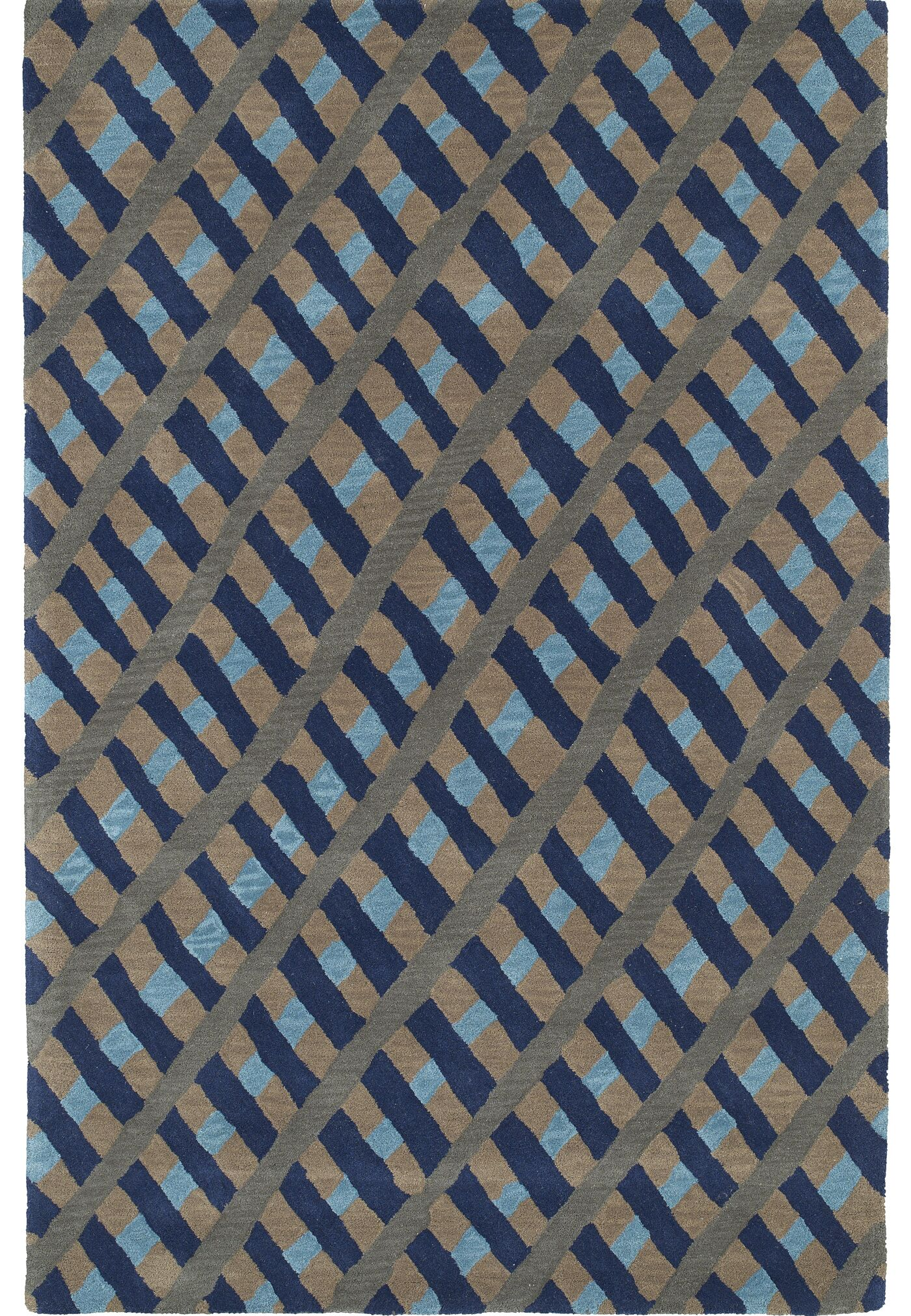 Schafer Hand Tufted Blue/Brown Area Rug Rug Size: Rectangle 8' x 10'