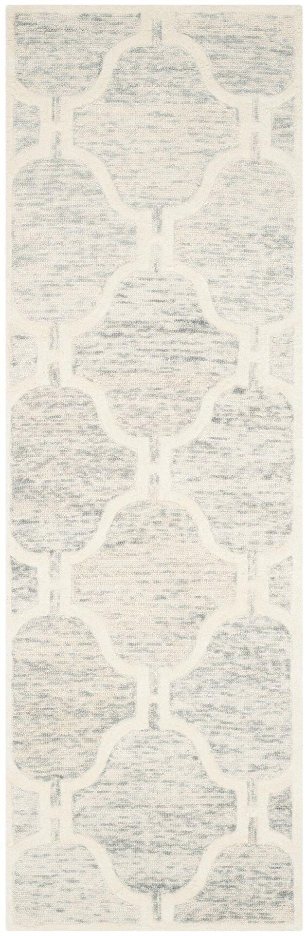 Medina Hand-Tufted Light Gray/Ivory Area Rug Rug Size: Runner 2'6