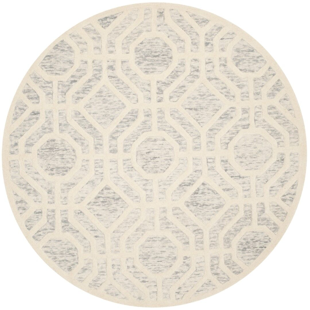 Medina Hand-Tufted Light Gray/Ivory Area Rug Rug Size: Round 6'