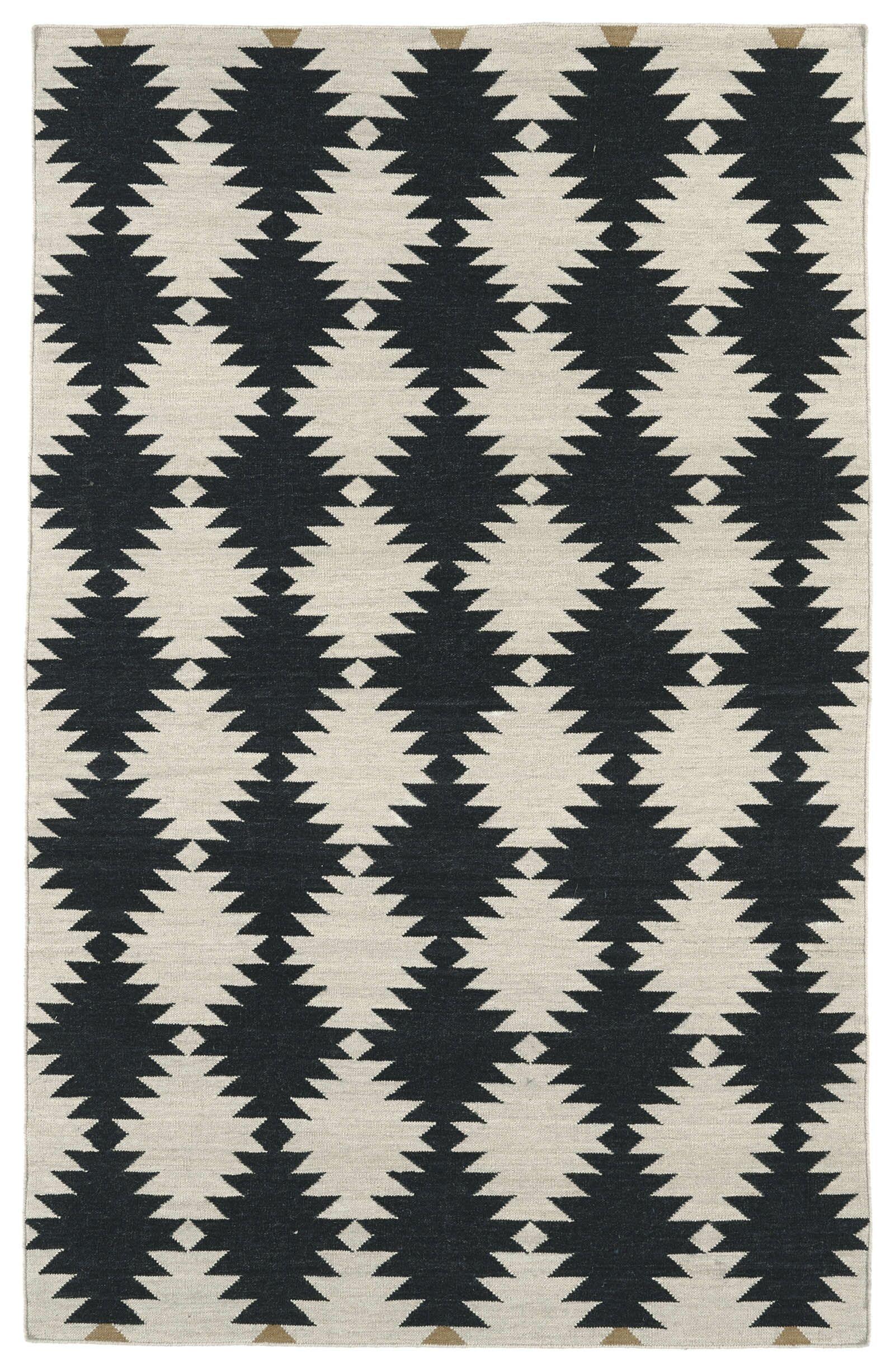 Marble Falls Black & Cream Geometric Area Rug Rug Size: Rectangle 8' x 10'