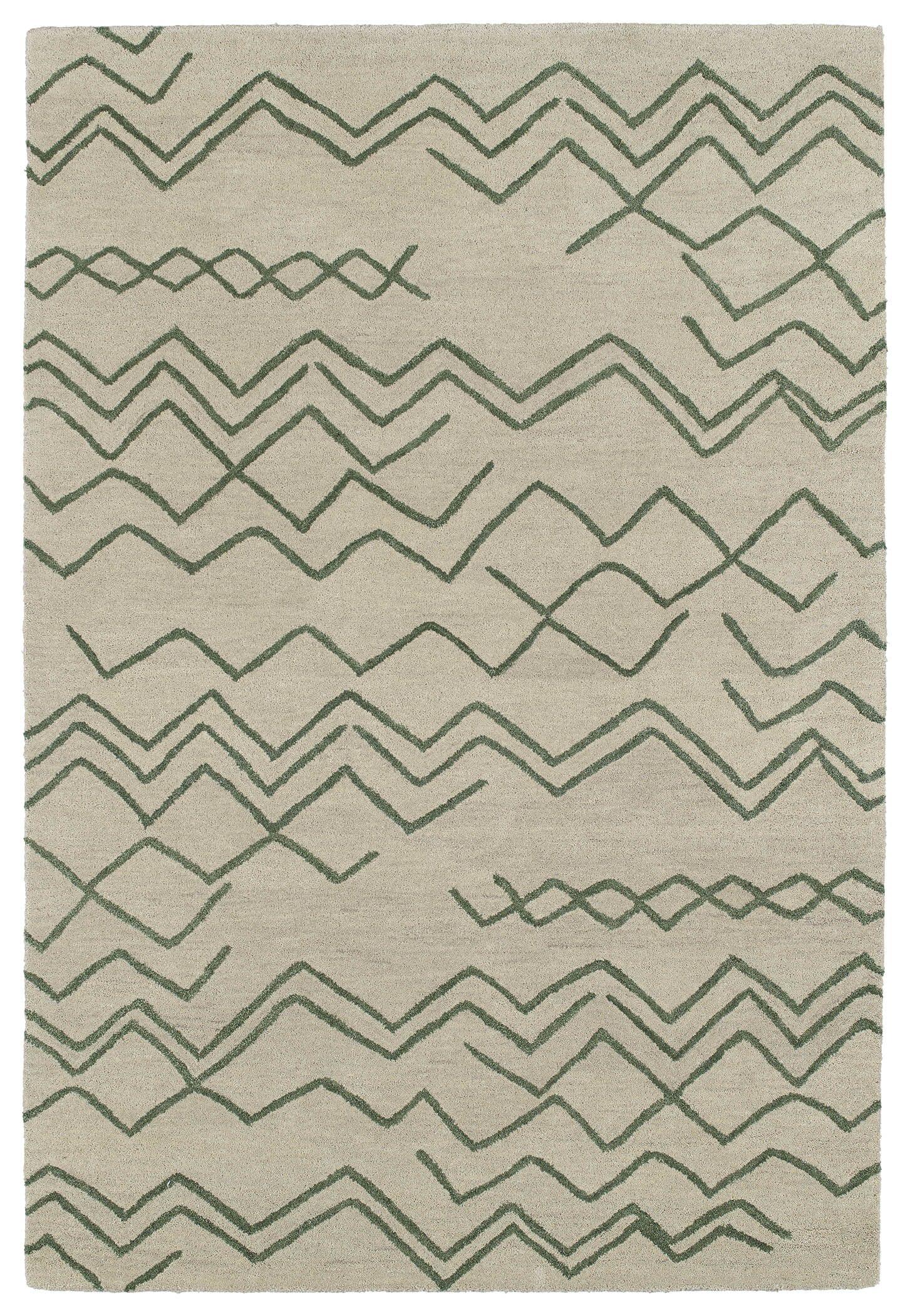 Zack Cream & Green Geometric Area Rug Rug Size: Rectangle 4' x 6'