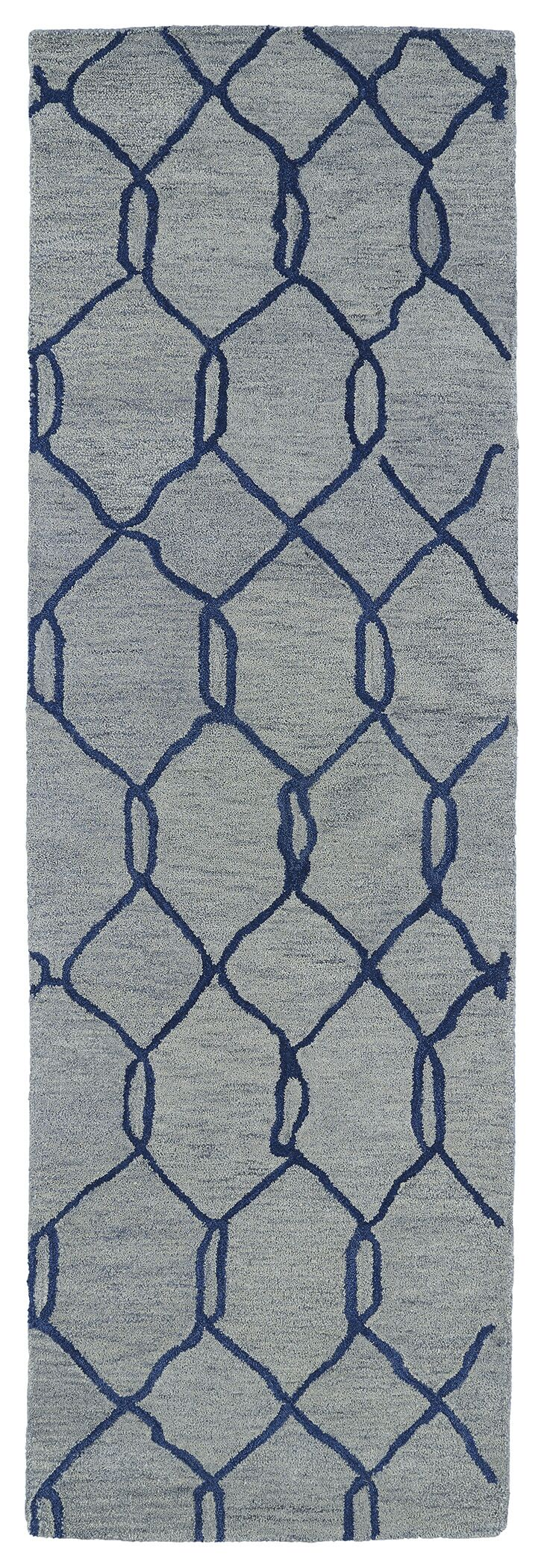 Zack Light Blue Geometric Rug Rug Size: Runner 2'6