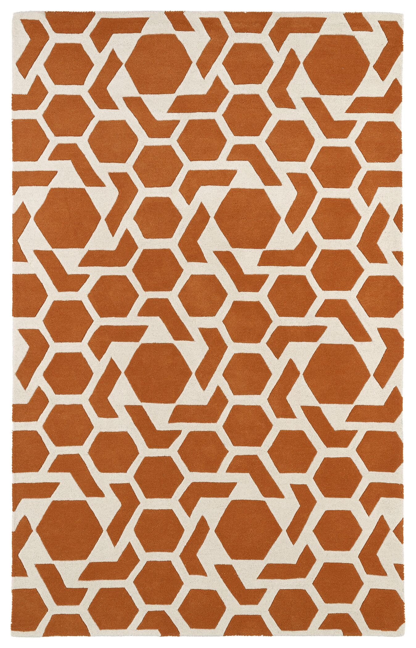 Fairlee Orange/White Area Rug Rug Size: Rectangle 9'6