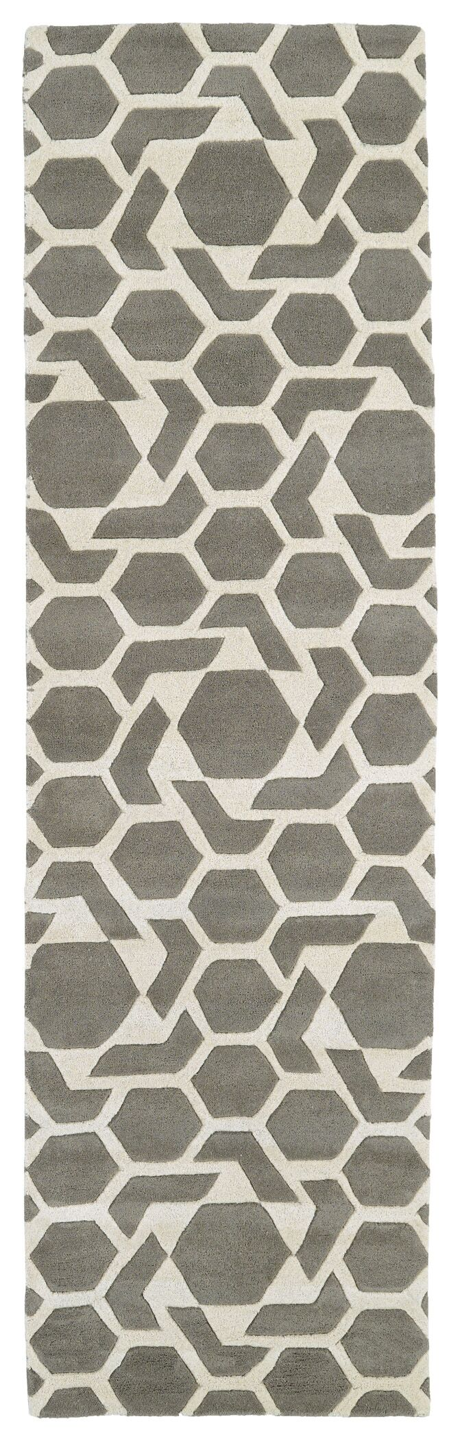 Fairlee Grey/White Area Rug Rug Size: Runner 2'3