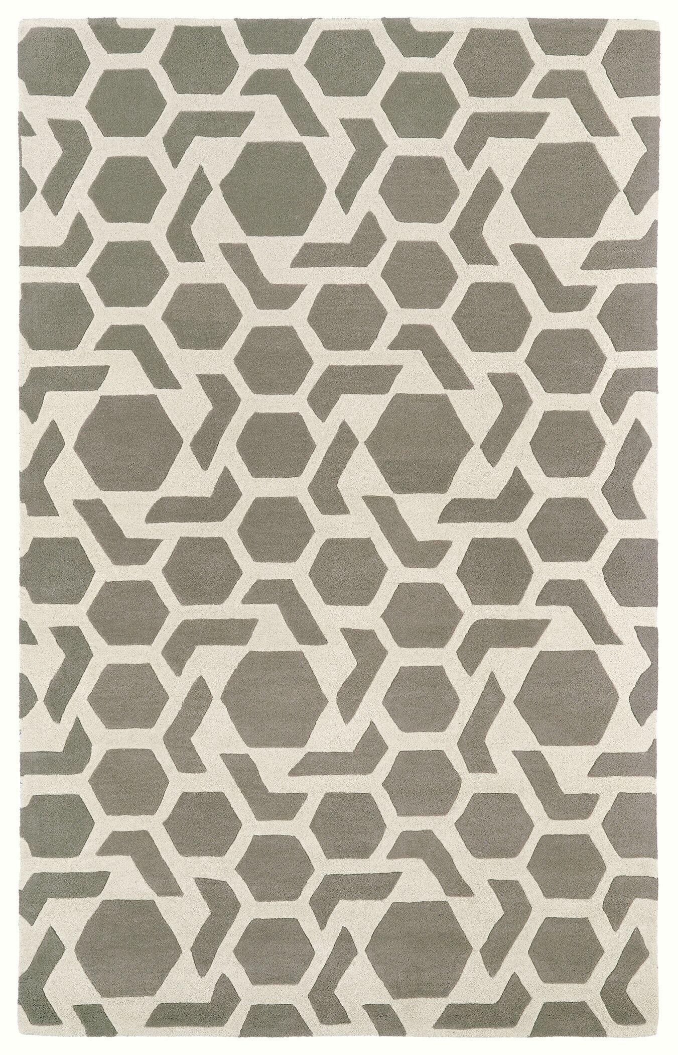 Fairlee Grey/White Area Rug Rug Size: Rectangle 9'6