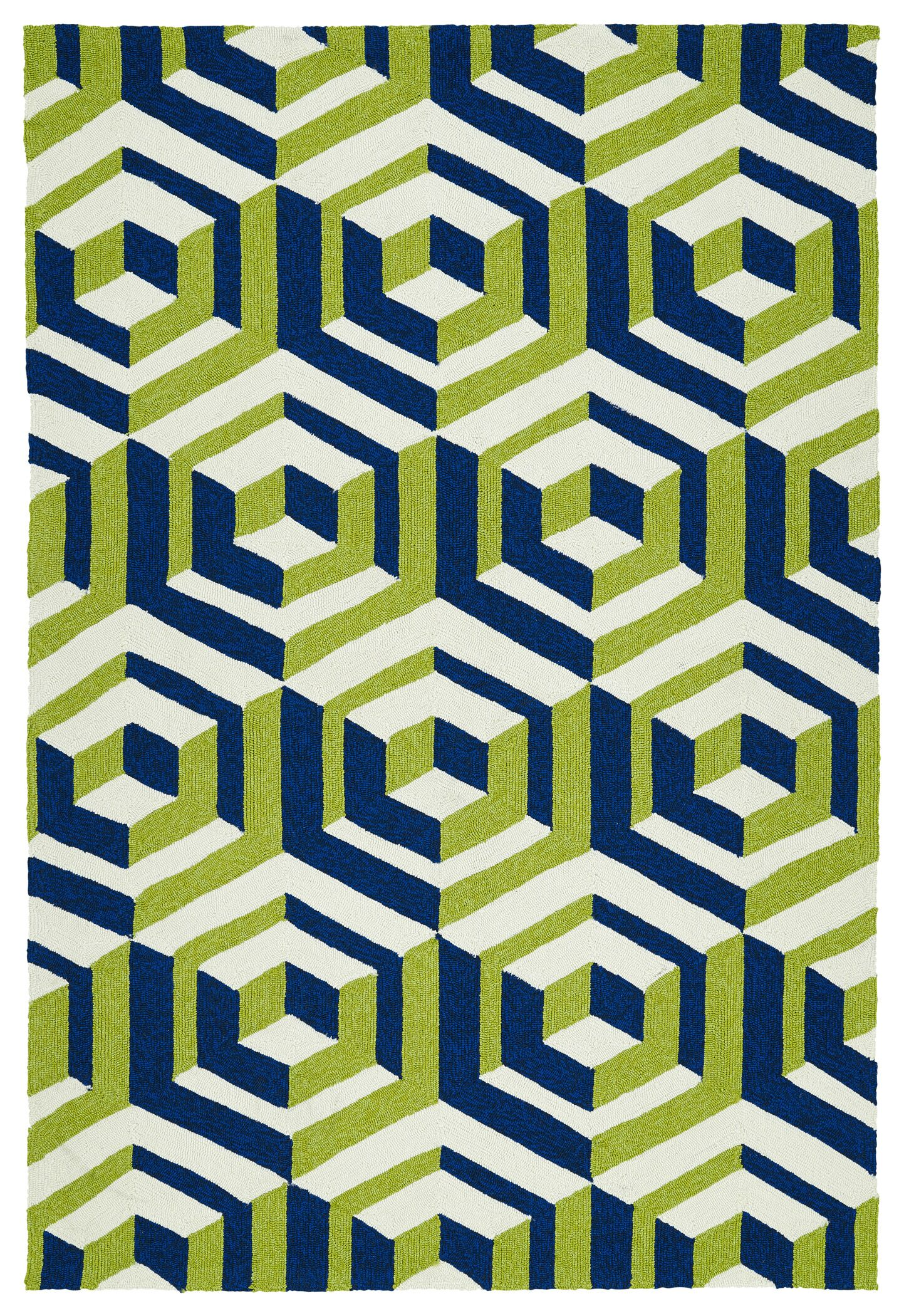 Doylestown Navy/Green Indoor/Outdoor Area Rug Rug Size: Rectangle 5' x 7'6