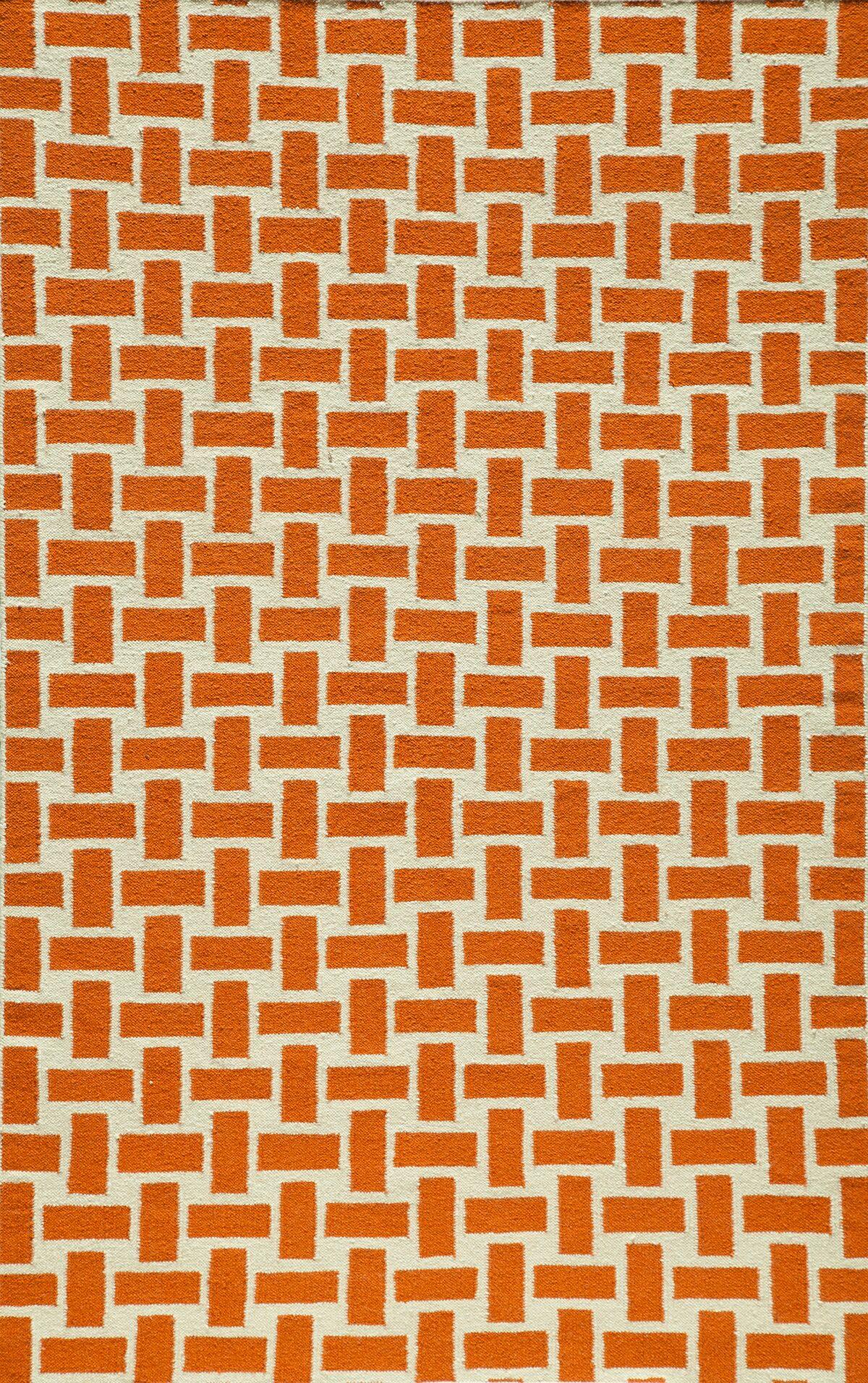 Hagler Hand-Woven Orange Area Rug Rug Size: Rectangle 8' x 10'