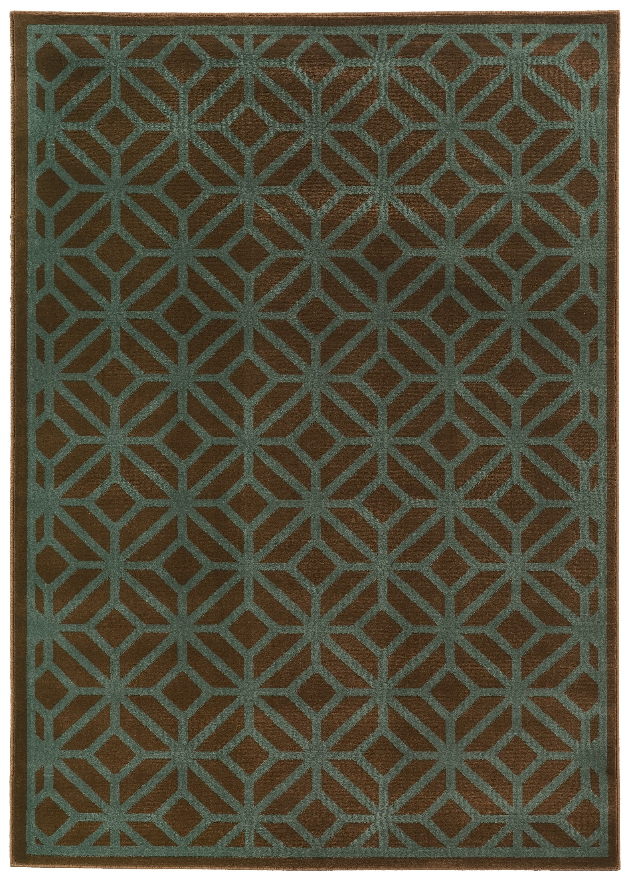 Halloran Brown/Blue Area Rug Rug Size: Rectangle 6'7