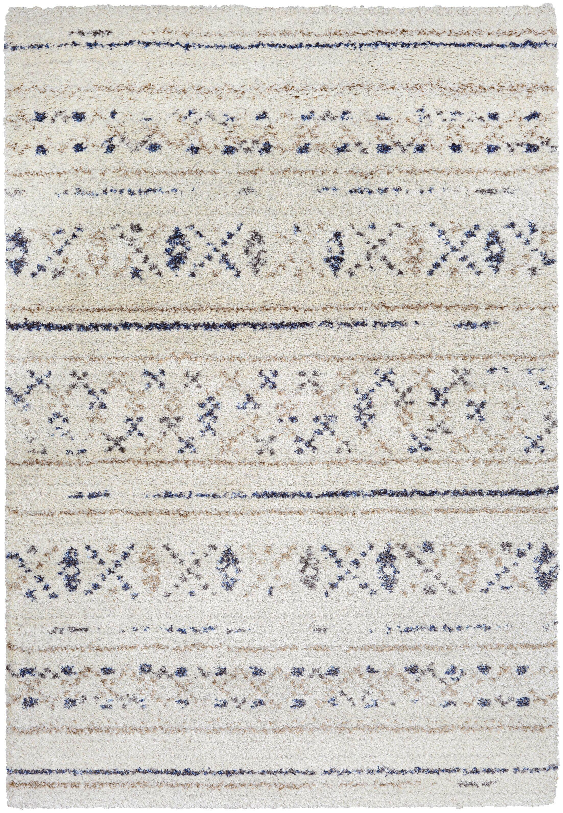 Kimberly Novia Ivory/Navy Blue Area Rug Rug Size: Rectangle 3'11