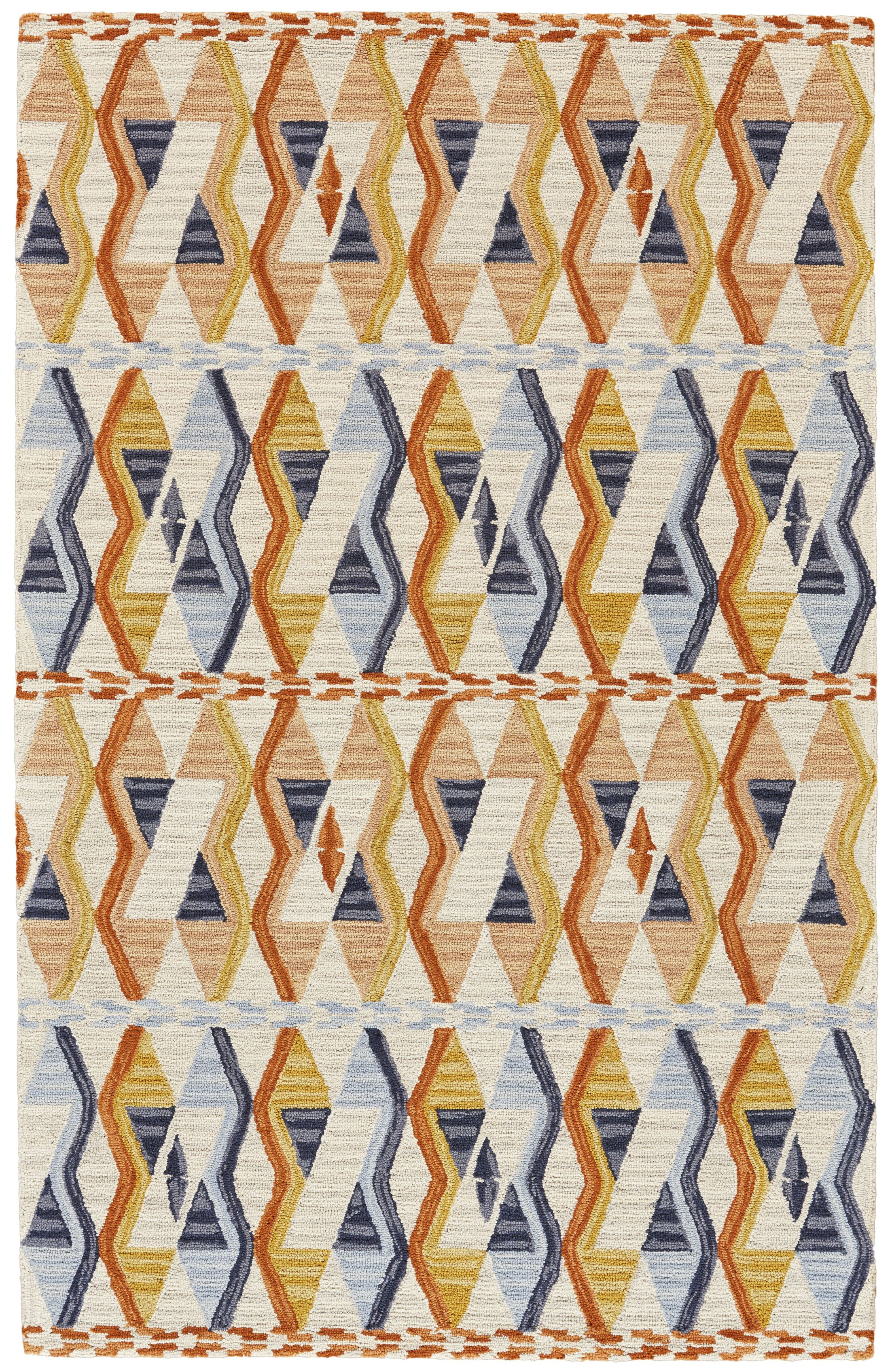 Willowick Hand-Tufted Orange/Blue Area Rug Rug Size: Rectangle 5' x 8'