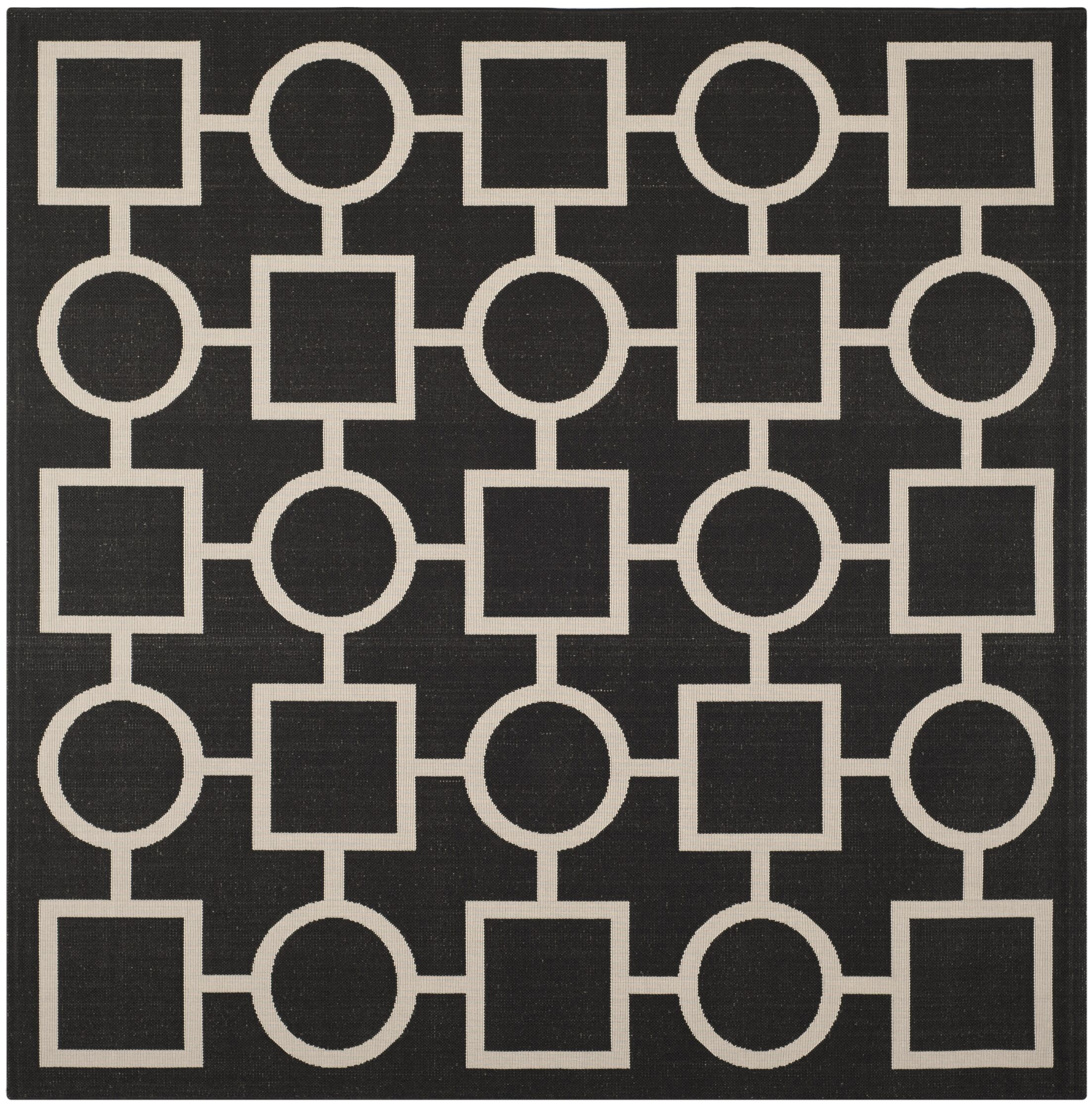 Jefferson Place Black / Beige Outdoor Rug Rug Size: Square 7'10