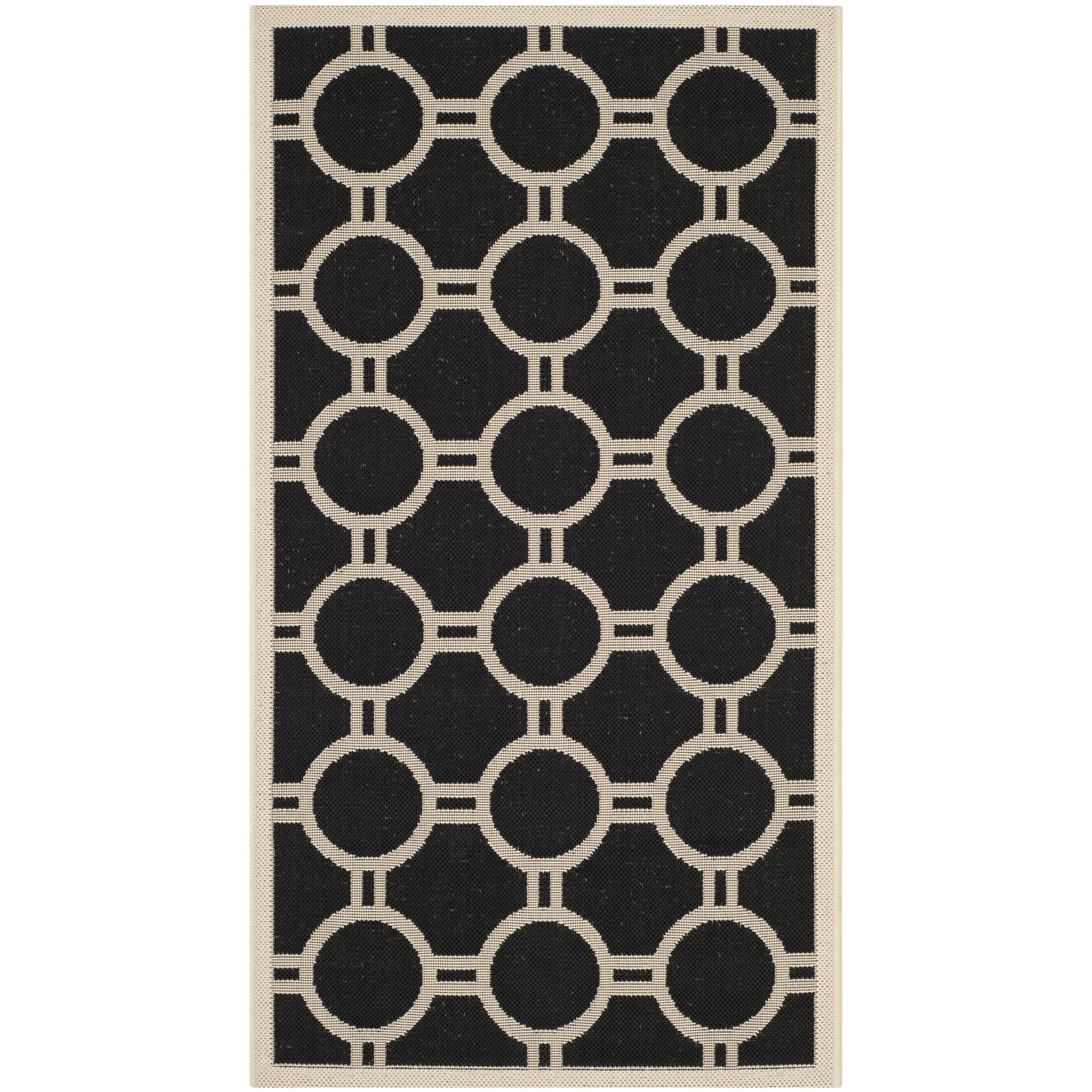 Jefferson Place Black/Beige Outdoor Rug Rug Size: Rectangle 8' x 11'