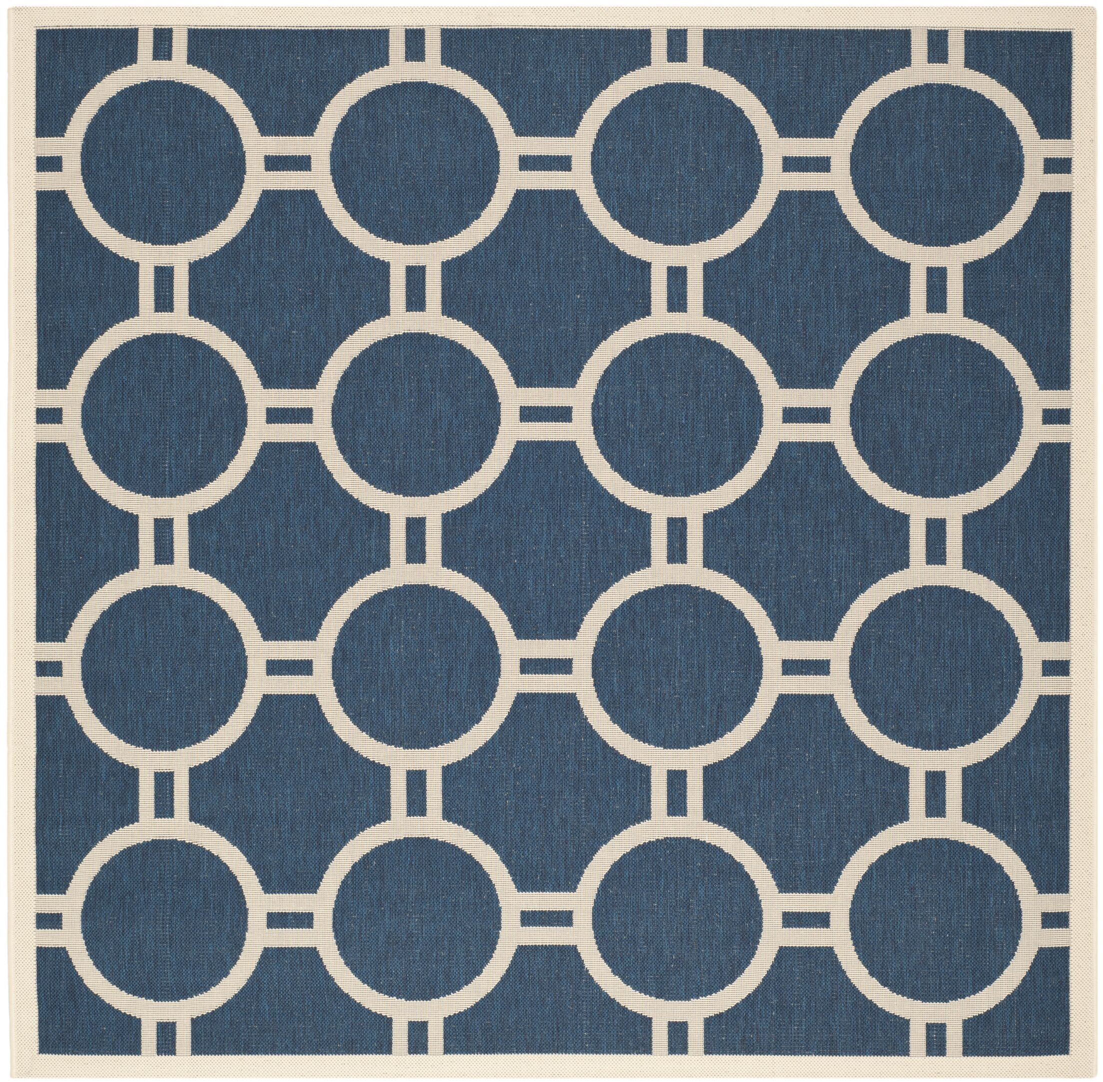Jefferson Place Navy/Beige Outdoor Area Rug Rug Size: Square 6'7