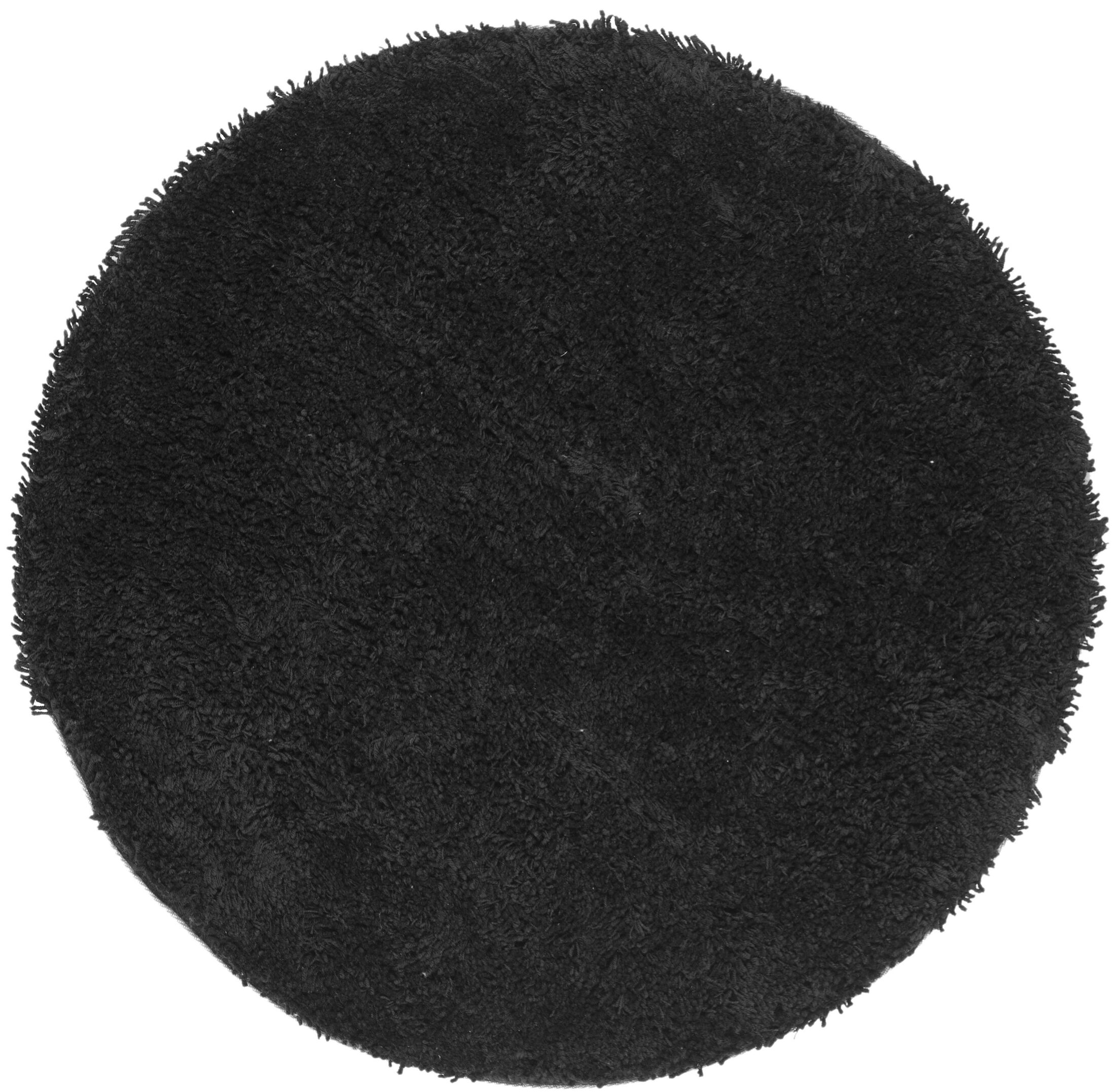 Starr Hill Solid Black Area Rug Rug Size: Round 4'