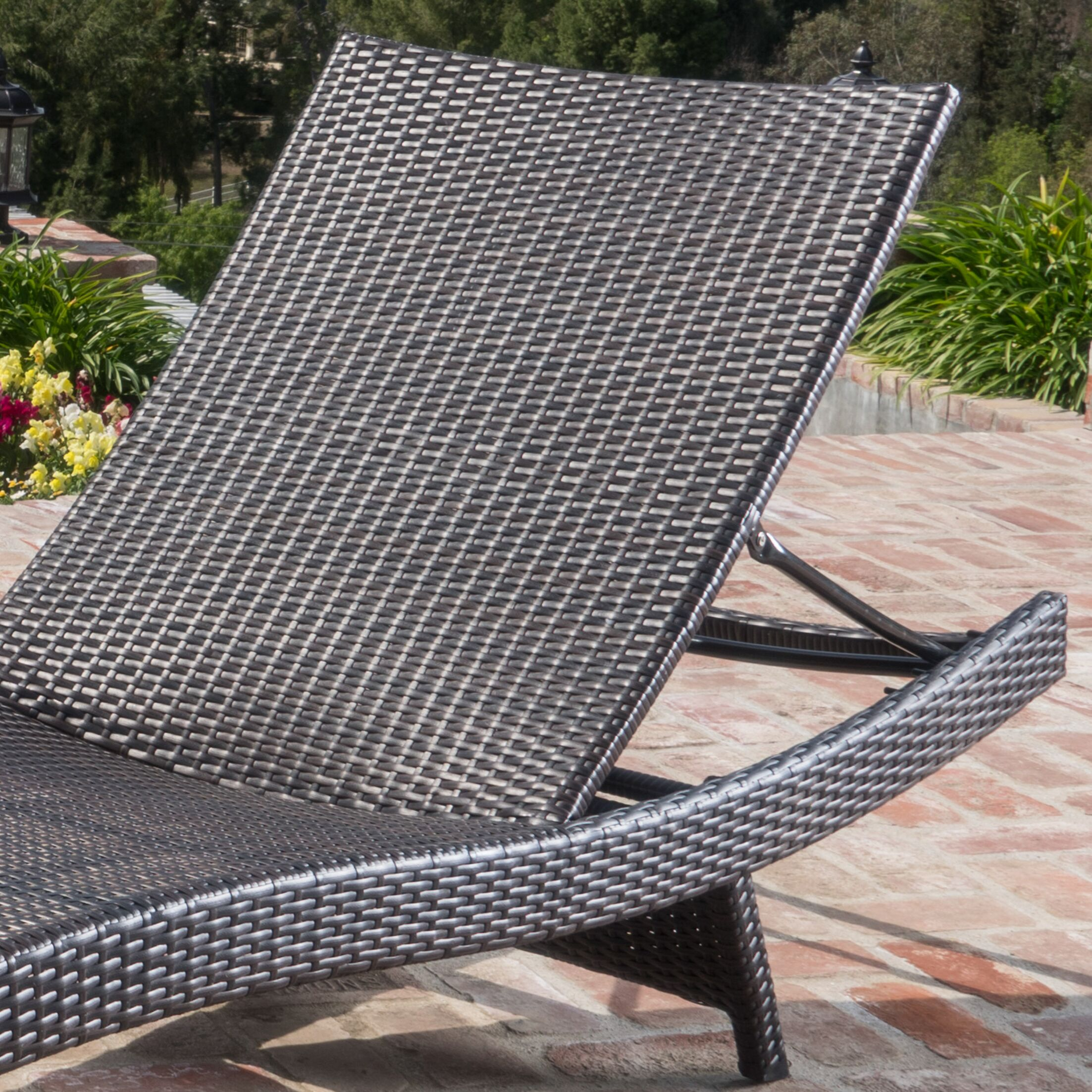 Ullman Adjustable Chaise Lounge with Beige Cushions