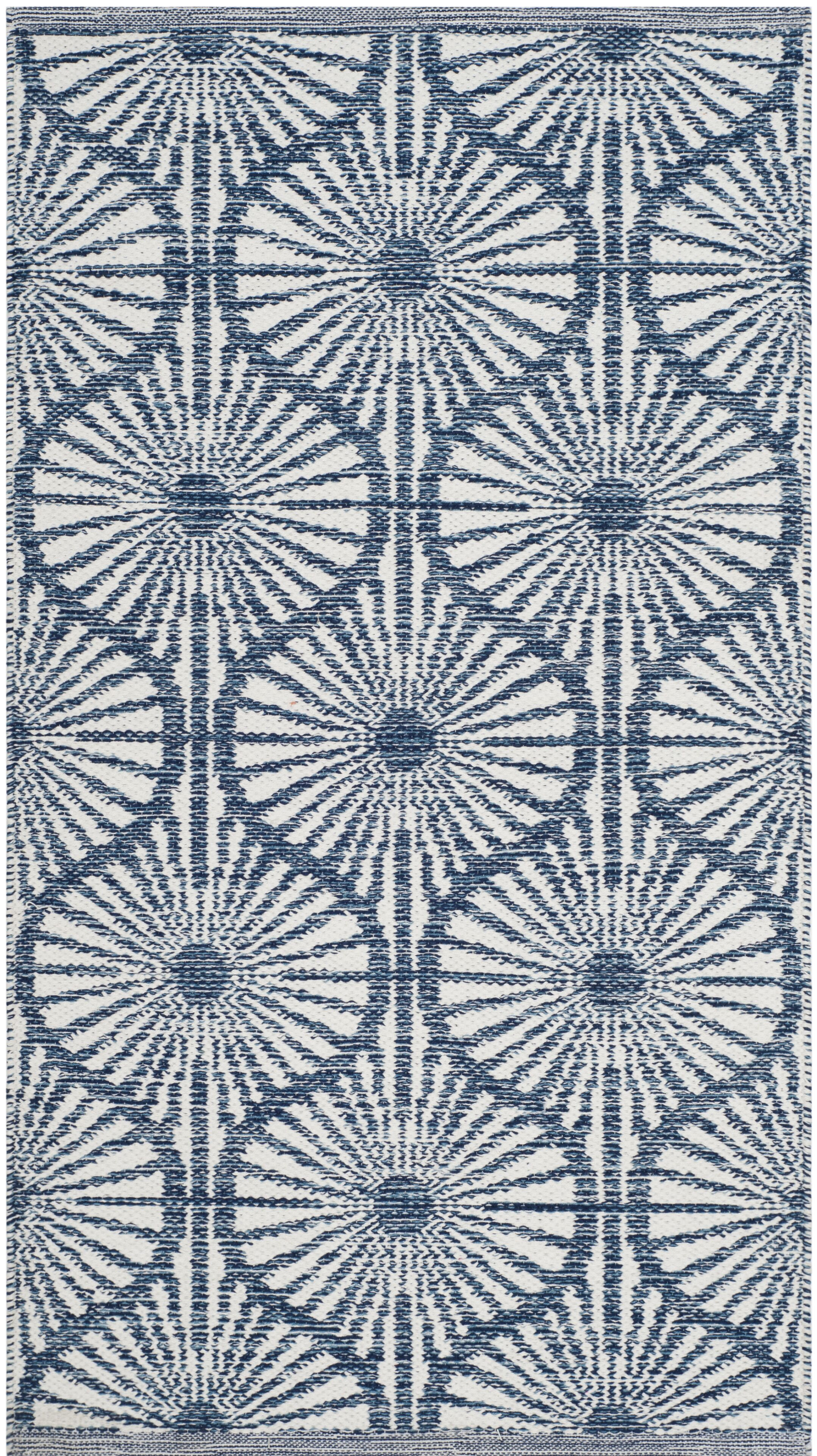 Oak Hill Hand-Woven Navy/Ivory Area Rug Rug Size: Rectangle 8' x 10'