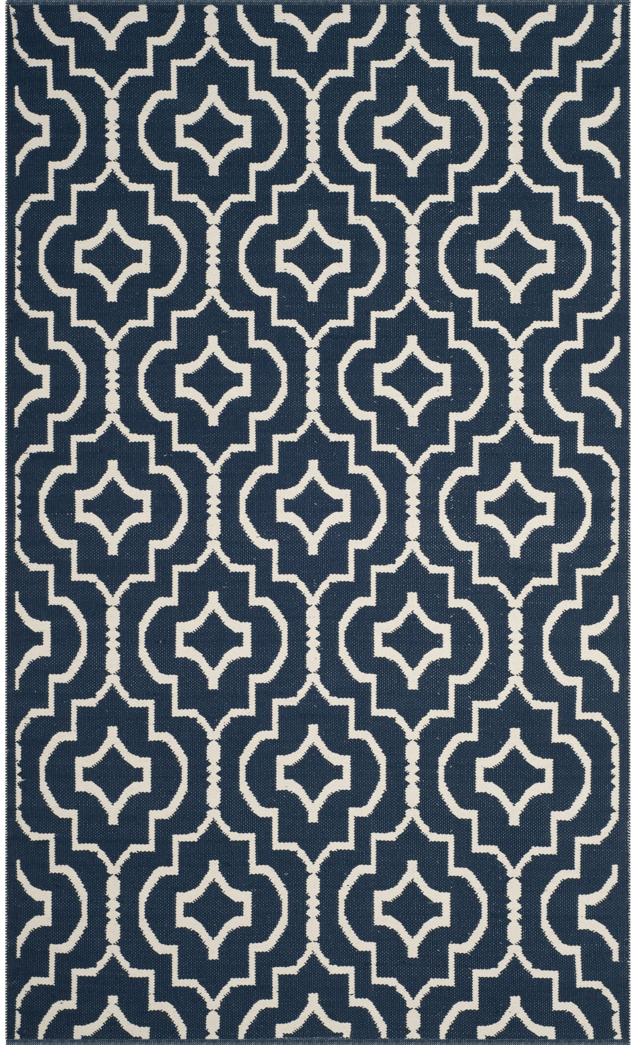 Rennie Hand-Woven Navy/Ivory Area Rug Rug Size: Square 6'