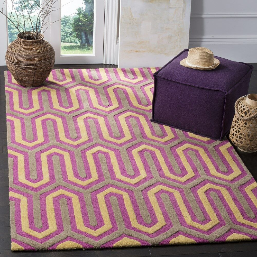 Martins Hand-Tufted Pink/Gray Area Rug Rug Size: Rectangle 8' x 10'