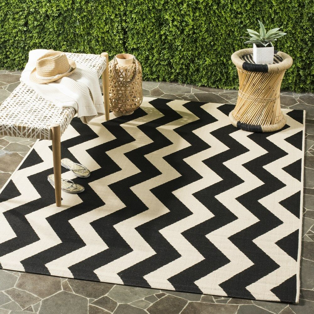 Jefferson Place Black/Beige Indoor/Outdoor Area Rug Rug Size: Rectangle 8' x 11'2