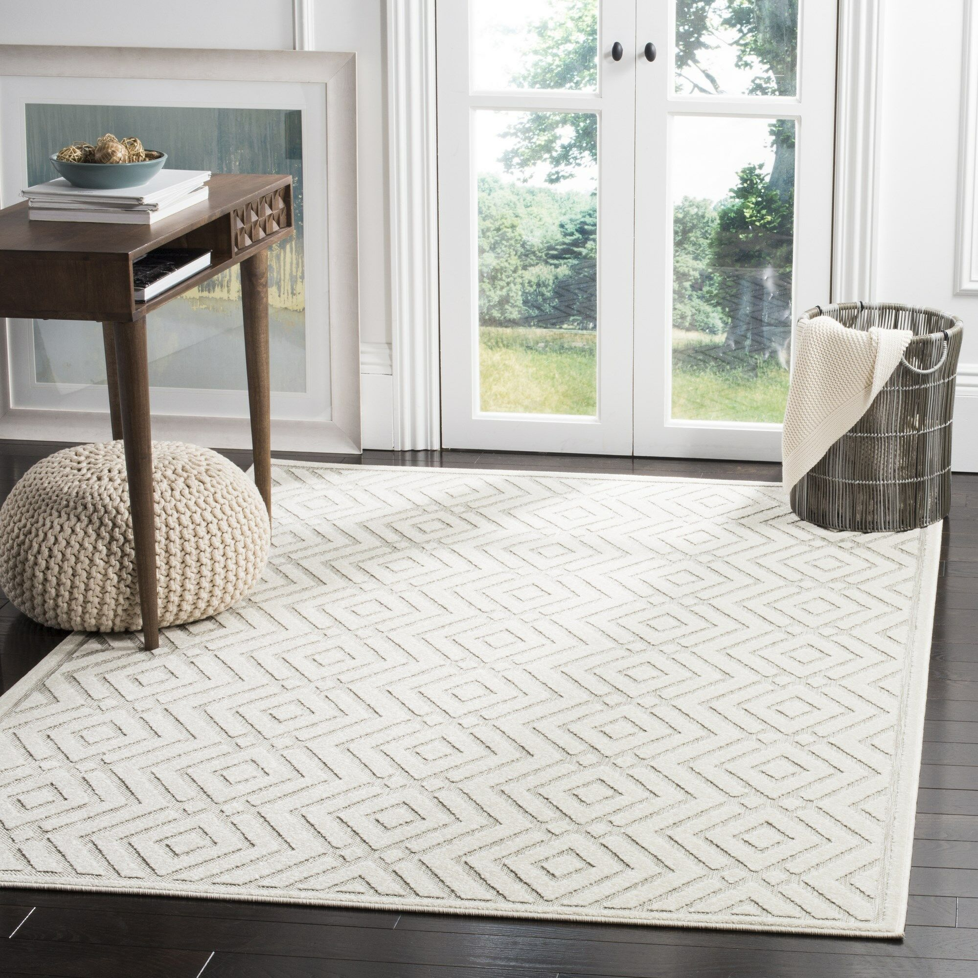 Cabana Light Gray/Cream Indoor/Outdoor Area Rug Rug Size: Rectangle 6'7