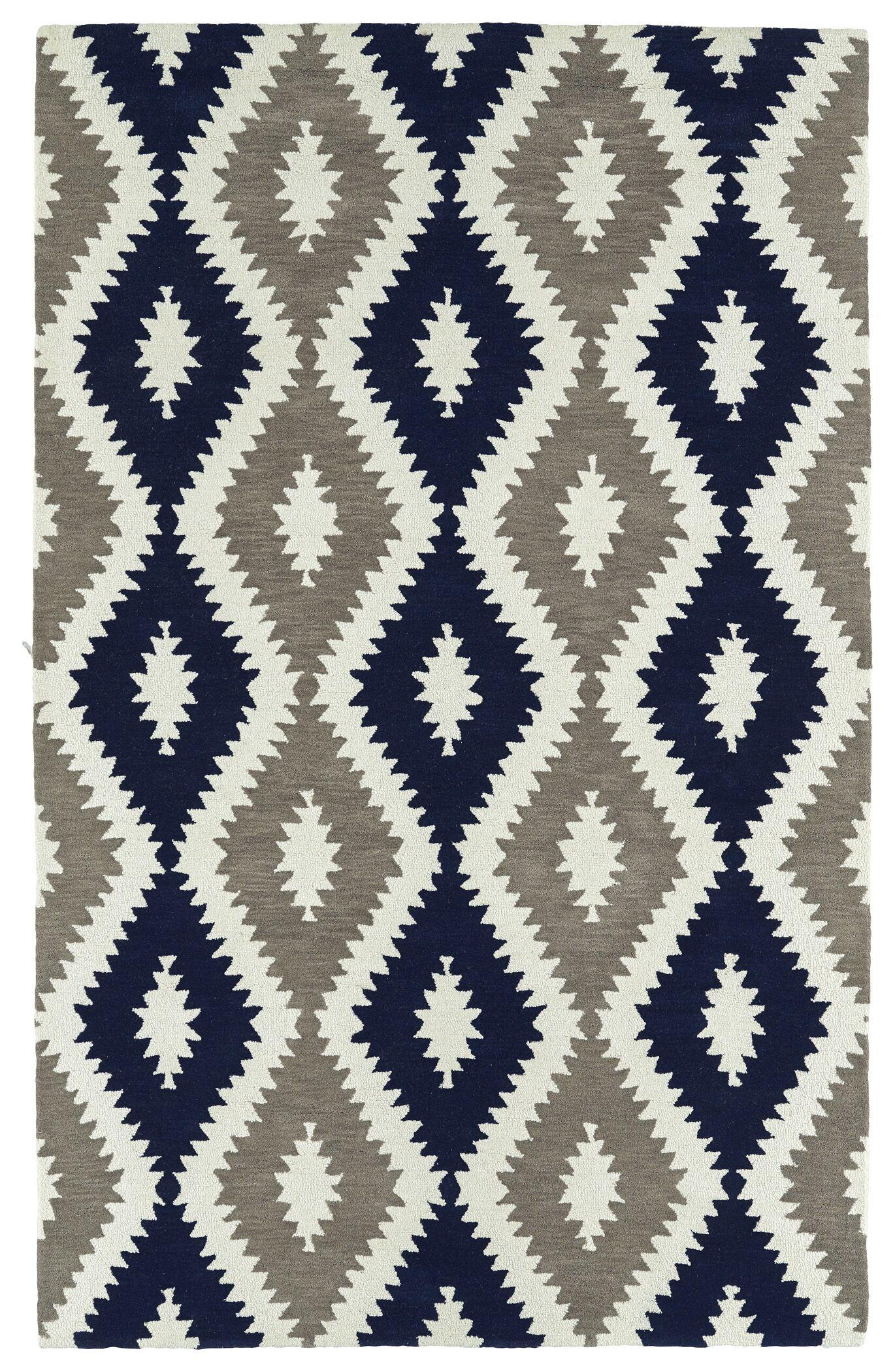 Hinton Charterhouse Hand-Tufted Navy/Ivory Area Rug Rug Size: Rectangle 9' x 12'