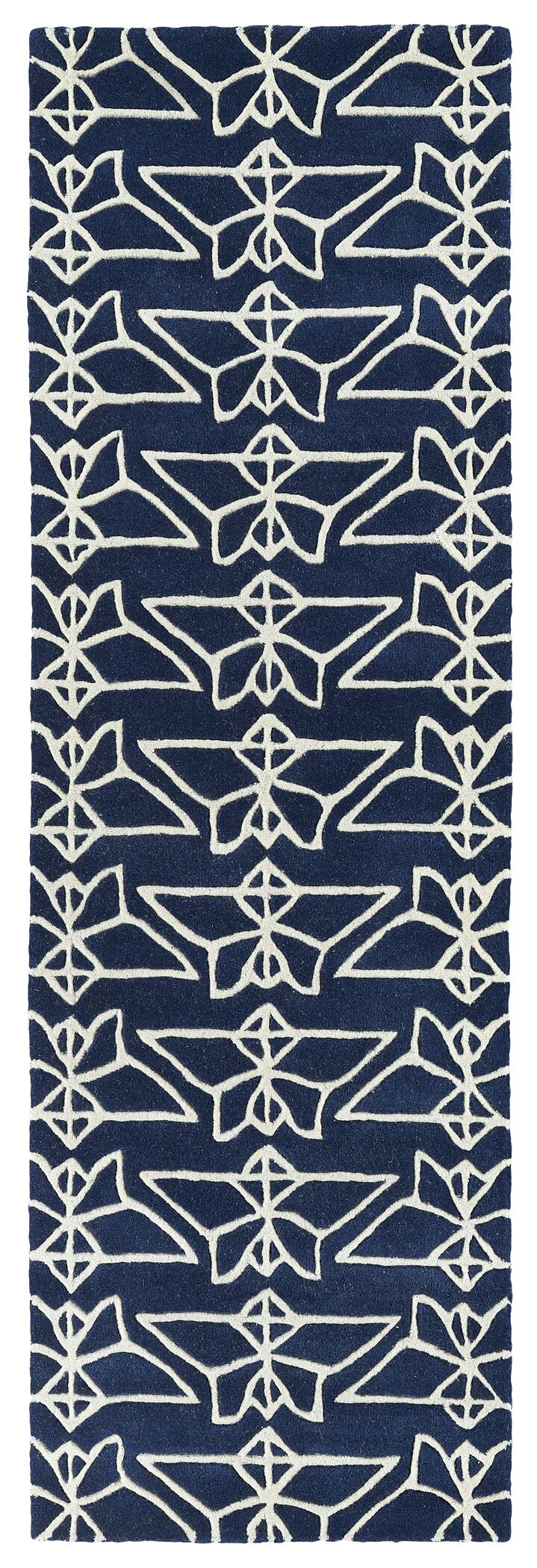 Ronnie Hand-Tufted Navy Area Rug Rug Size: Runner 2'6