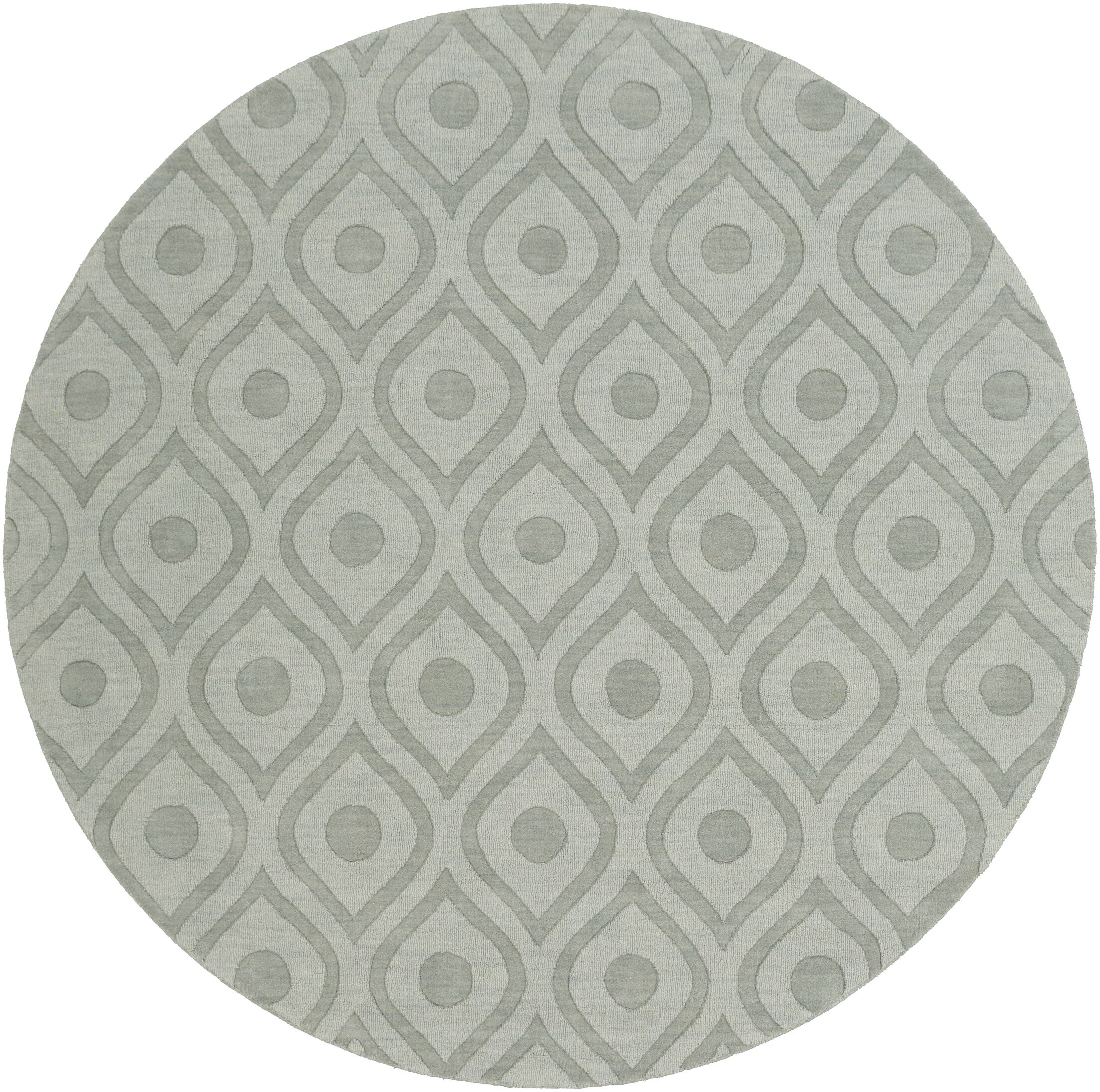Castro Hand Woven Wool Blue-Gray Area Rug Rug Size: Round 7'9