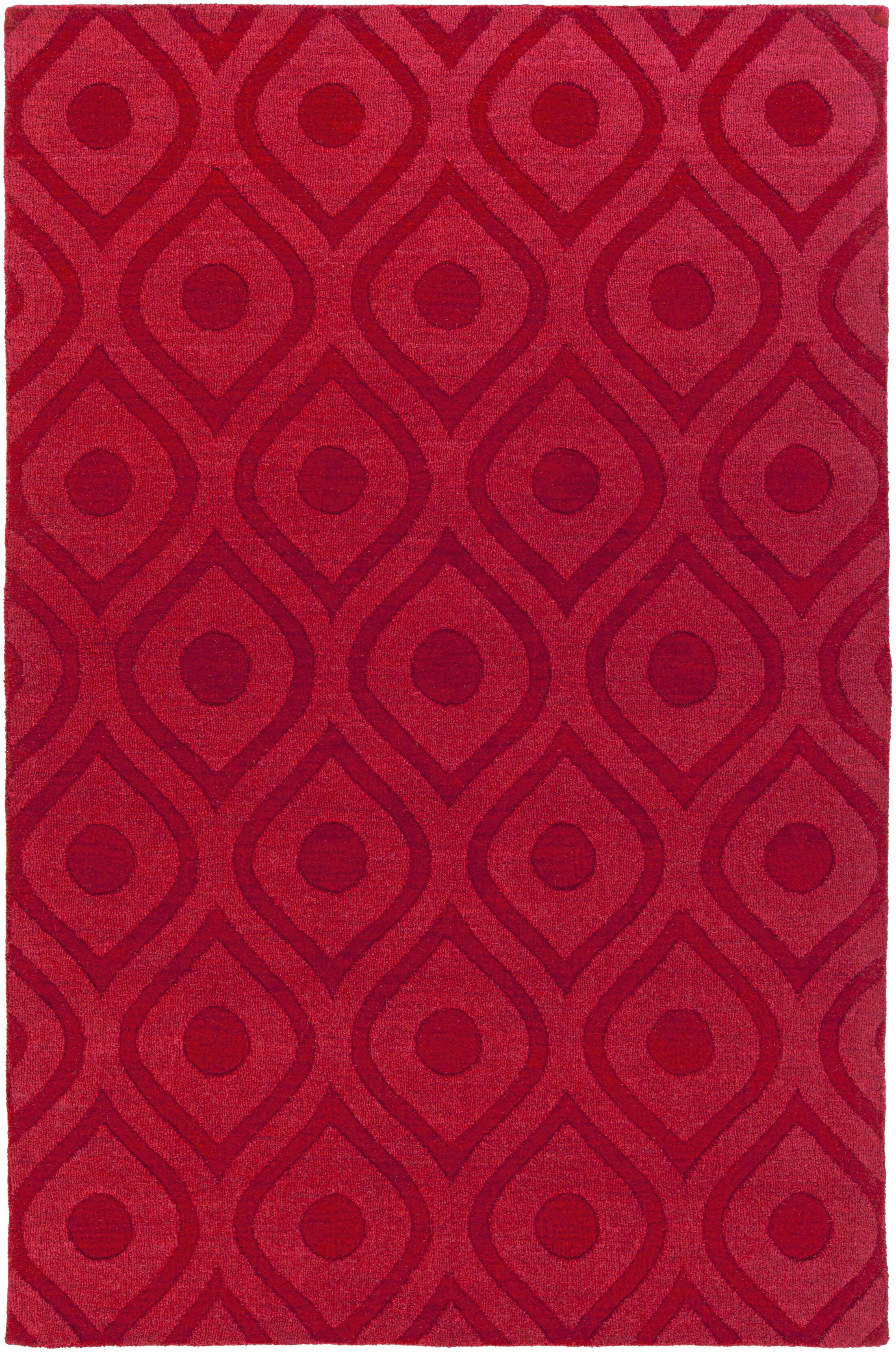 Castro Hand Woven Wool Red Area Rug Rug Size: Rectangle 4' x 6'