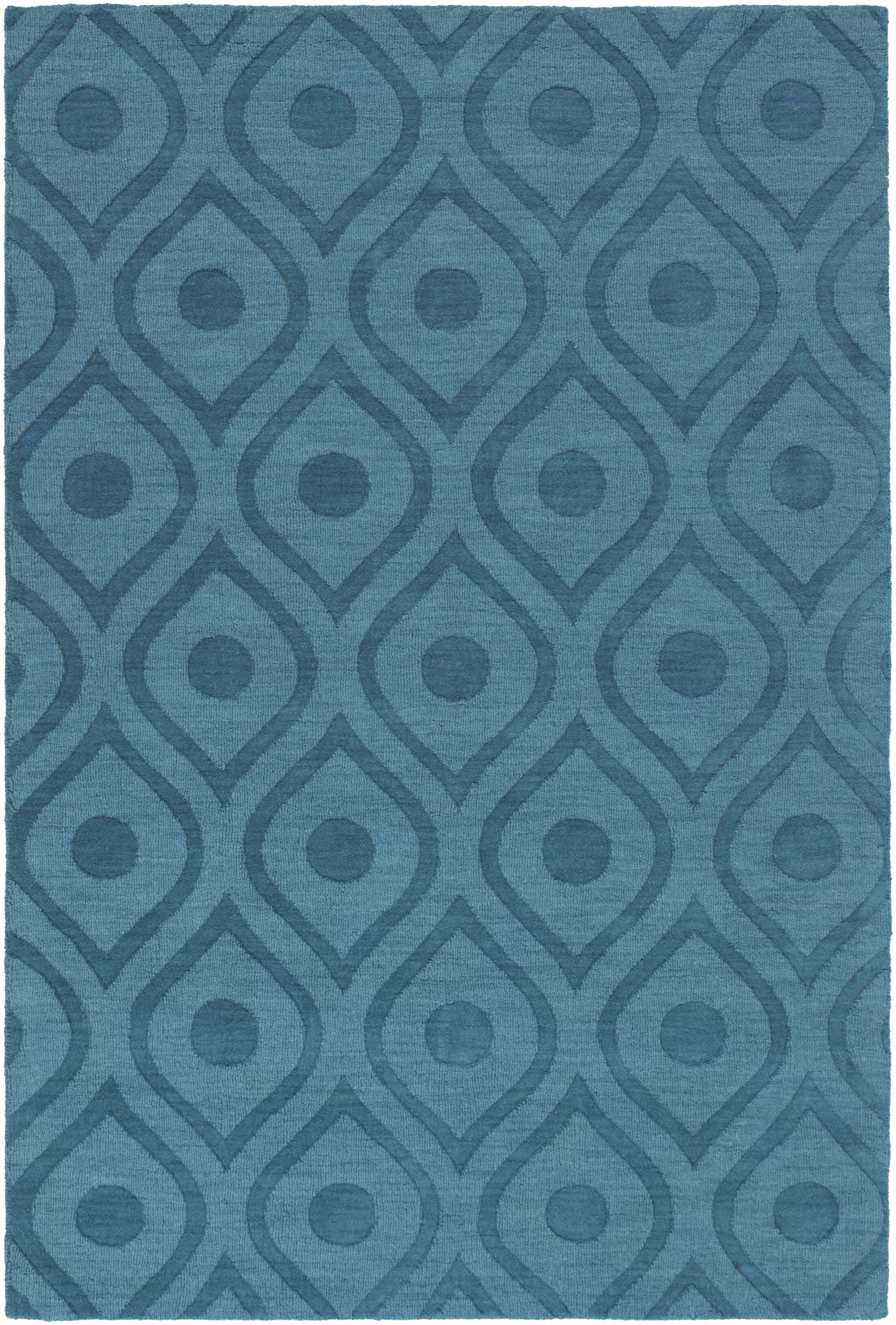 Castro Hand Woven Wool Teal Area Rug Rug Size: Rectangle 9' x 12'