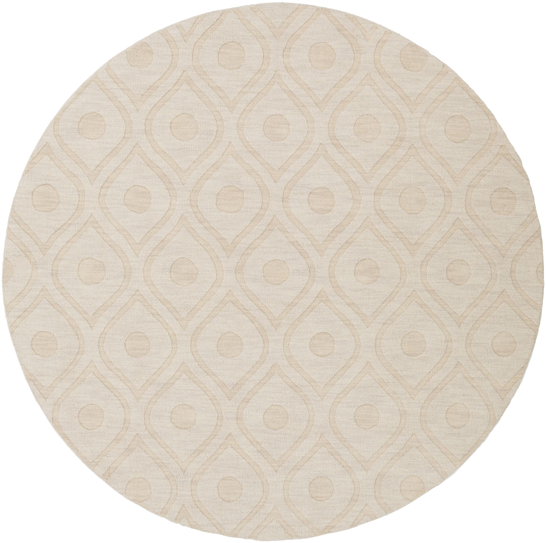 Castro Hand Woven Wool Beige Area Rug Rug Size: Round 6'