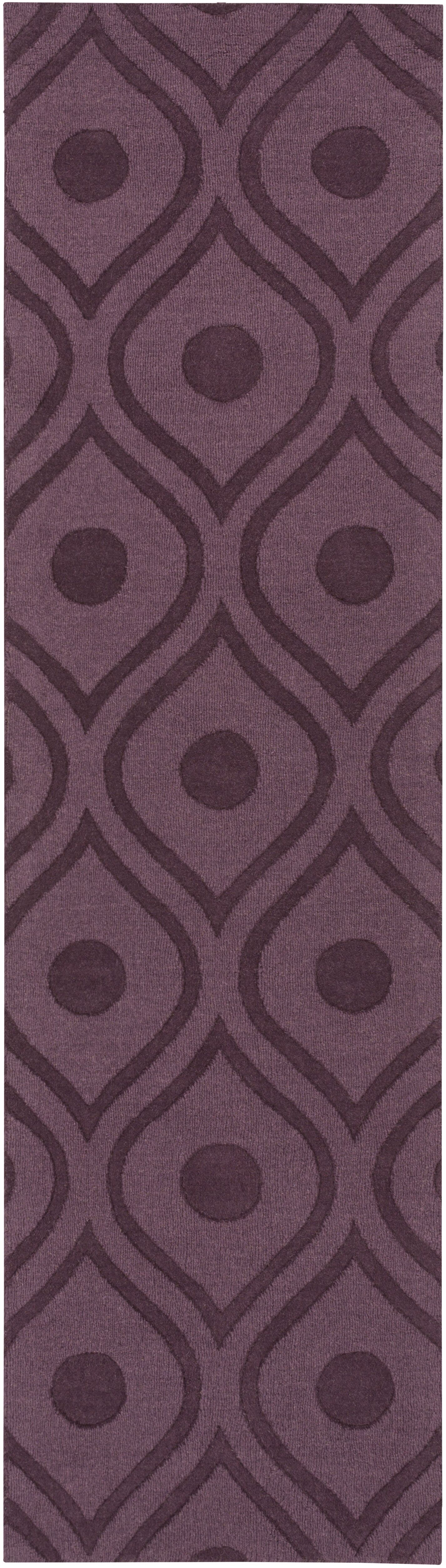 Castro Hand Woven Wool Purple Area Rug Rug Size: Runner 2'3