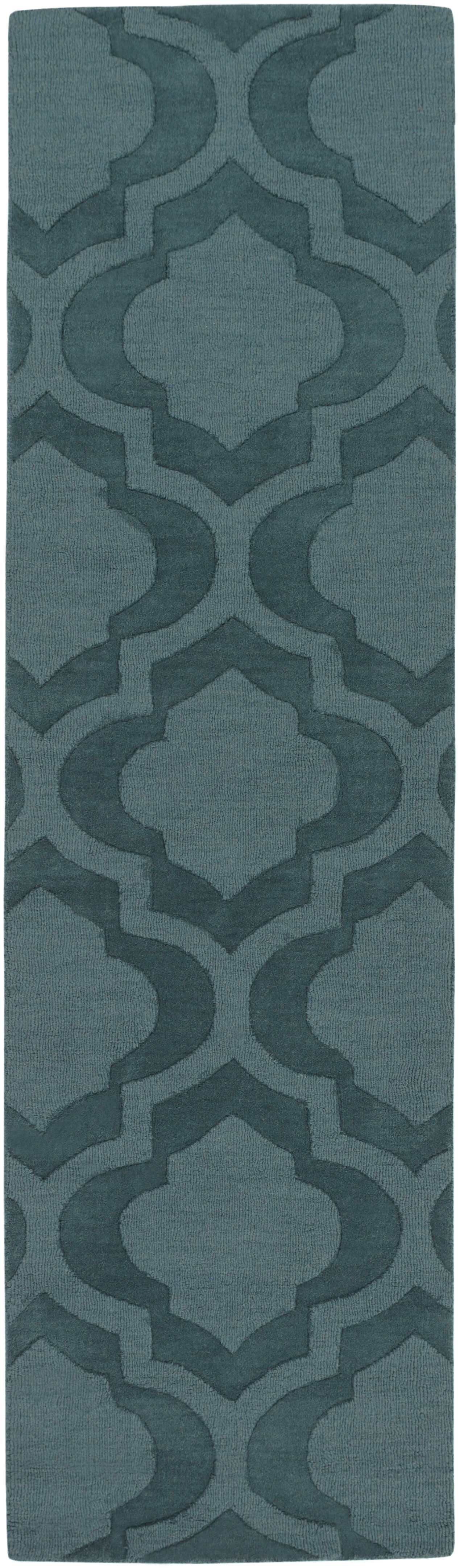 Castro Hand Woven Wool Teal Area Rug Rug Size: Runner 2'3
