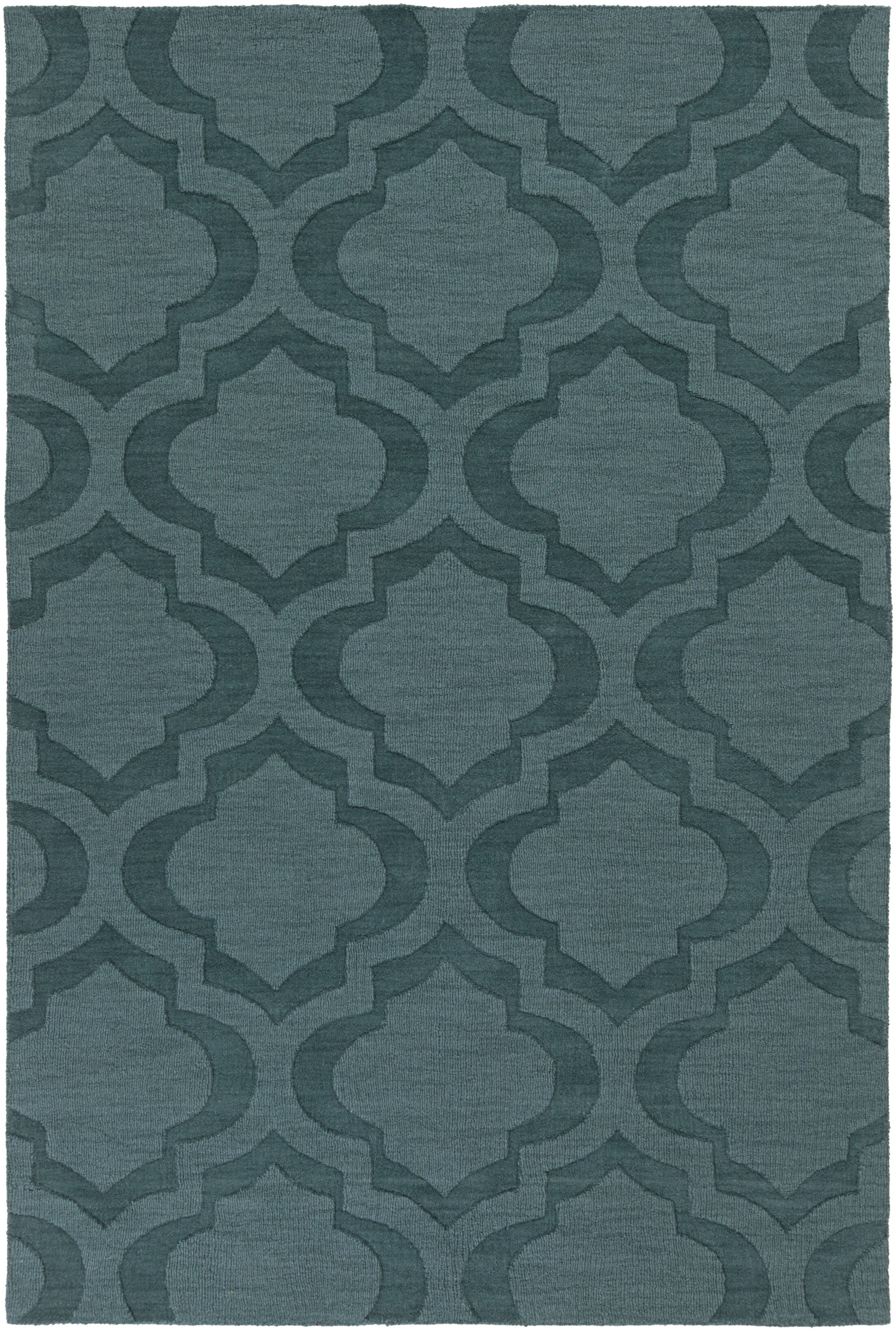 Castro Hand Woven Wool Teal Area Rug Rug Size: Rectangle 8' x 10'