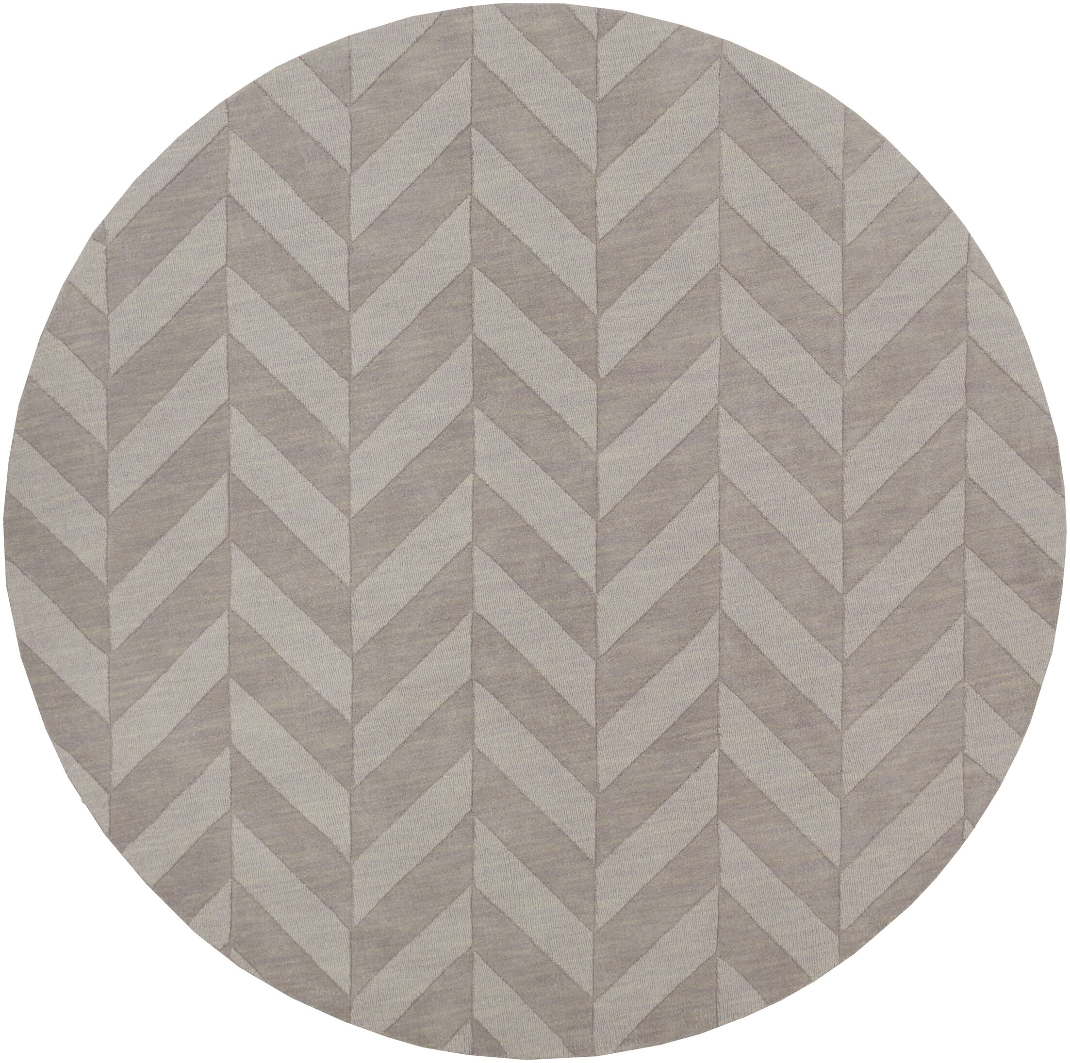 Sunburst Hand Woven Wool Gray Area Rug Rug Size: Round 6'