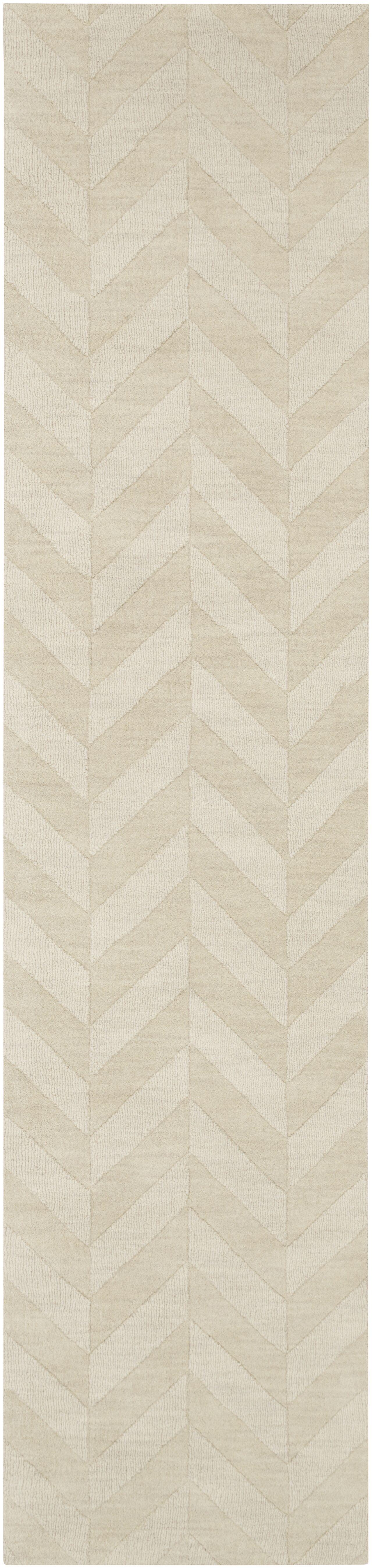 Sunburst Hand-Woven Wool Ivory Area Rug Rug Size: Runner 2'3