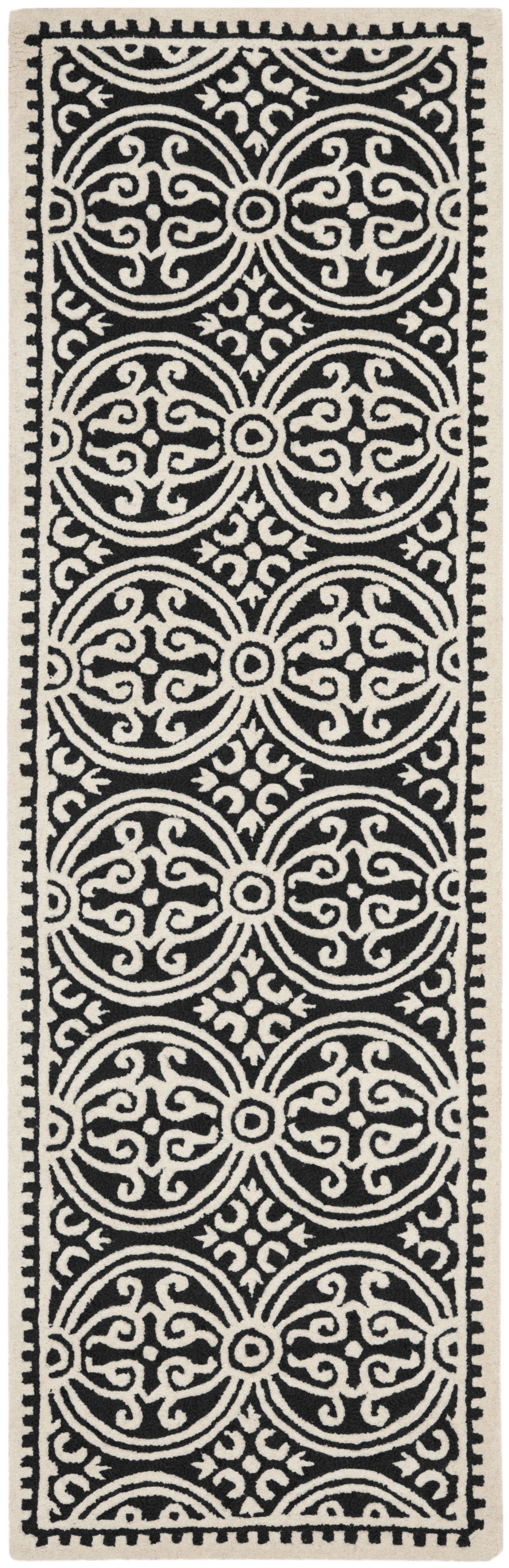Fairburn Black/Ivory Area Rug Rug Size: Runner 2'6